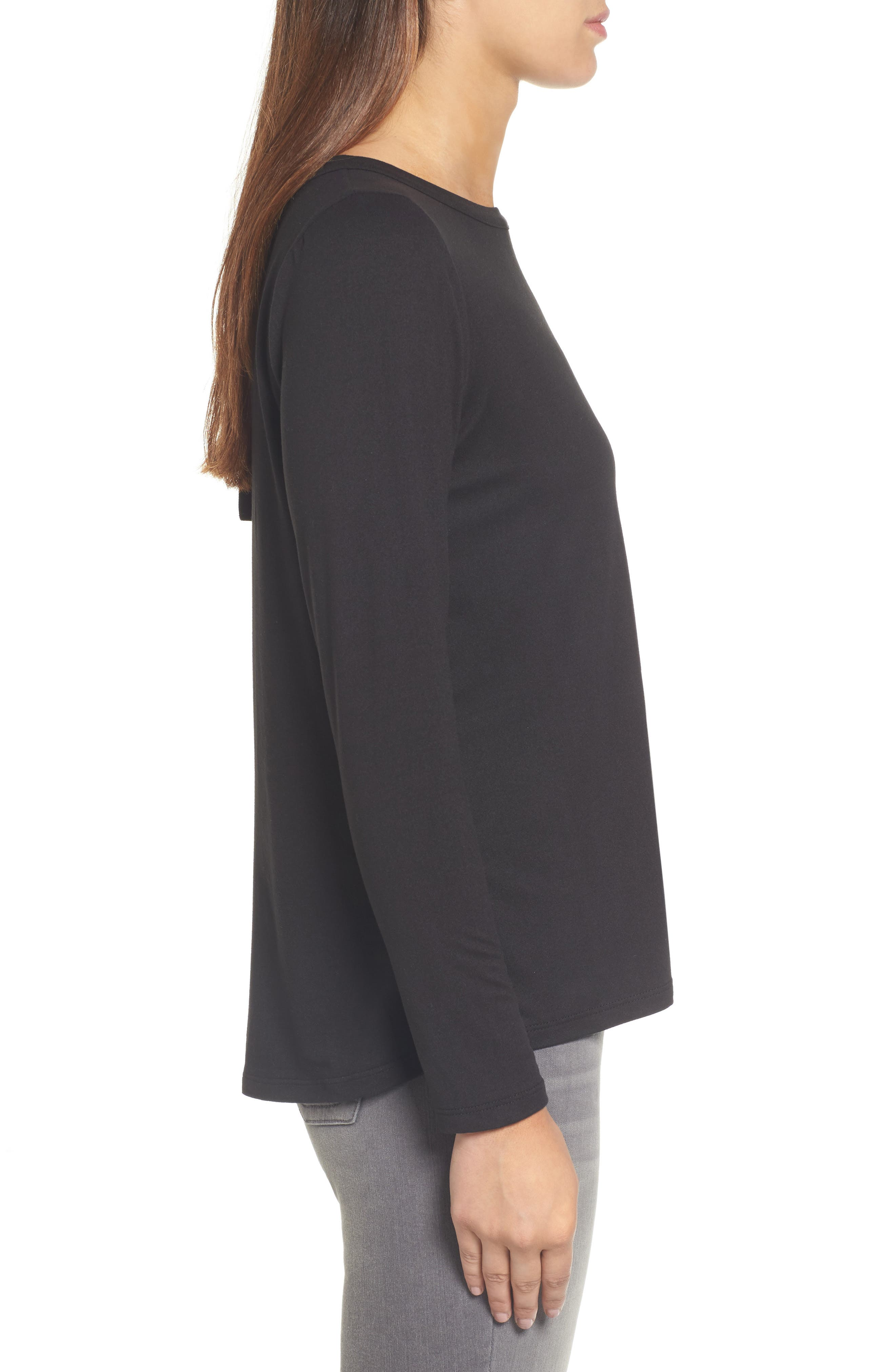 High/Low Bow Back Top,                             Alternate thumbnail 3, color,                             001