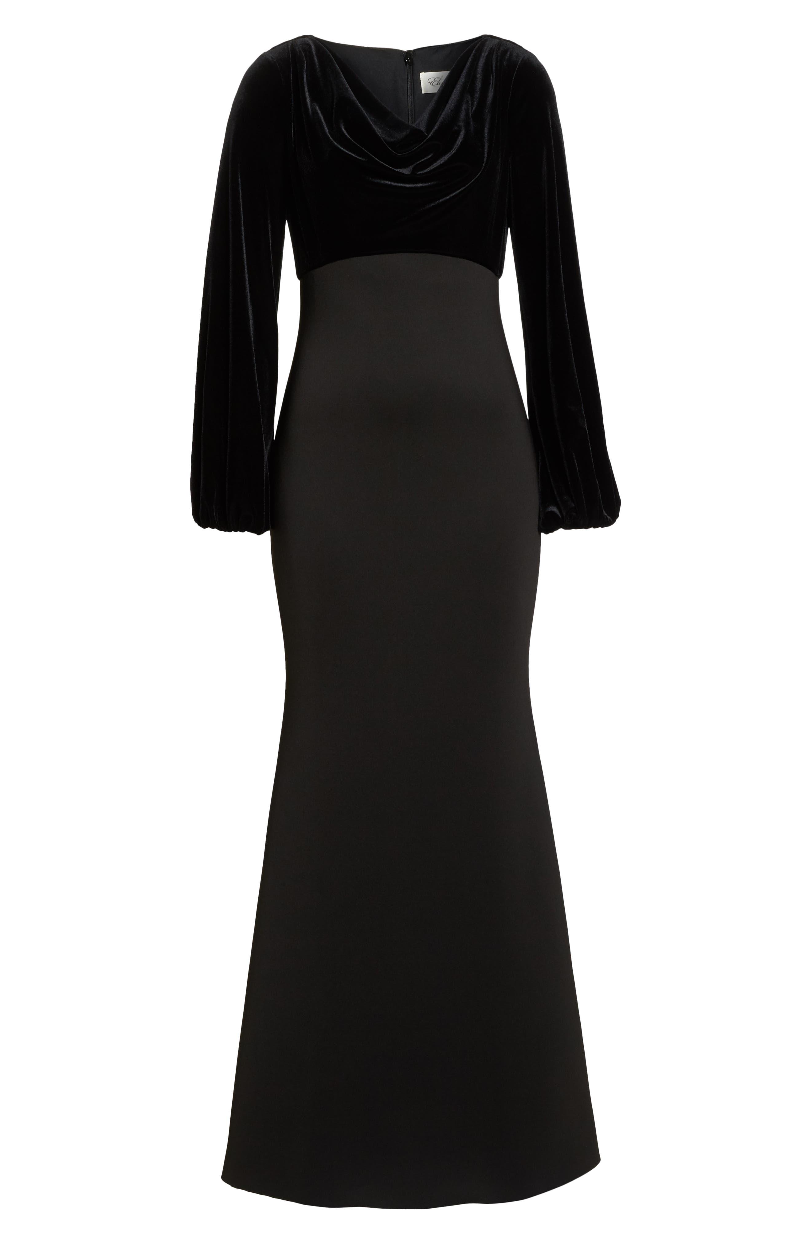 Cowl Neck Mermaid Gown,                             Alternate thumbnail 7, color,                             BLACK