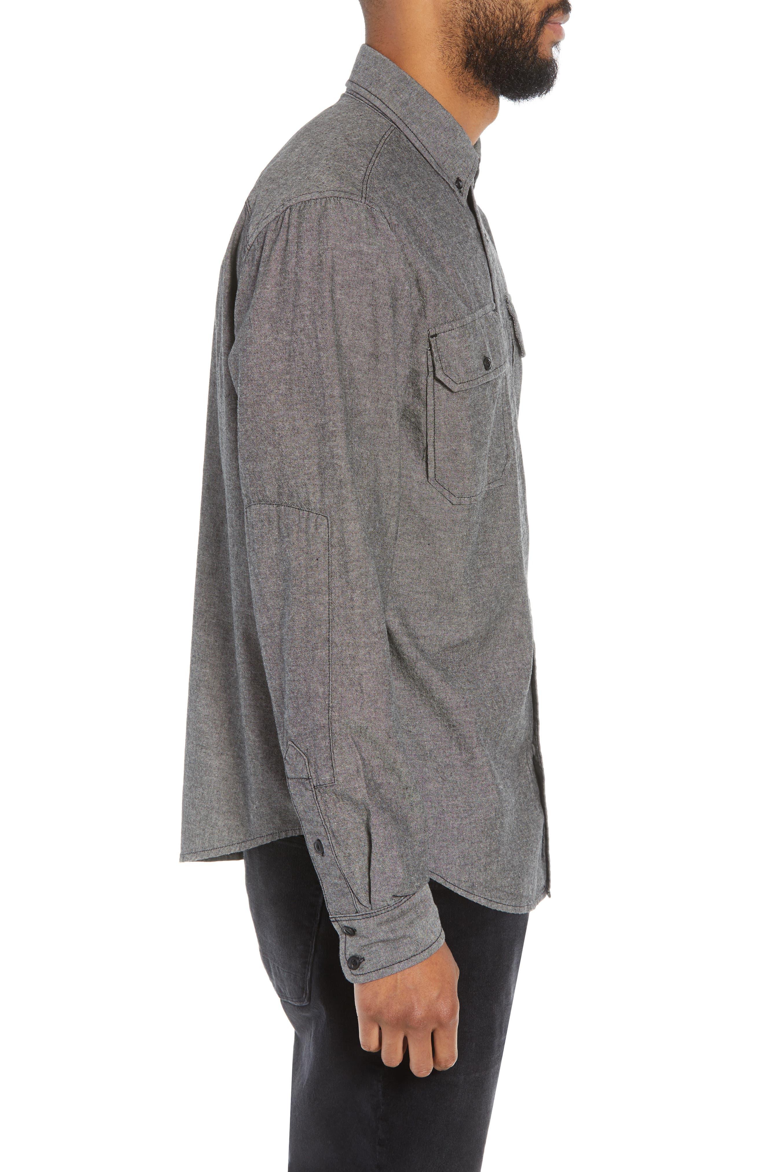 Hudson Regular Fit Chambray Sport Shirt,                             Alternate thumbnail 3, color,                             035