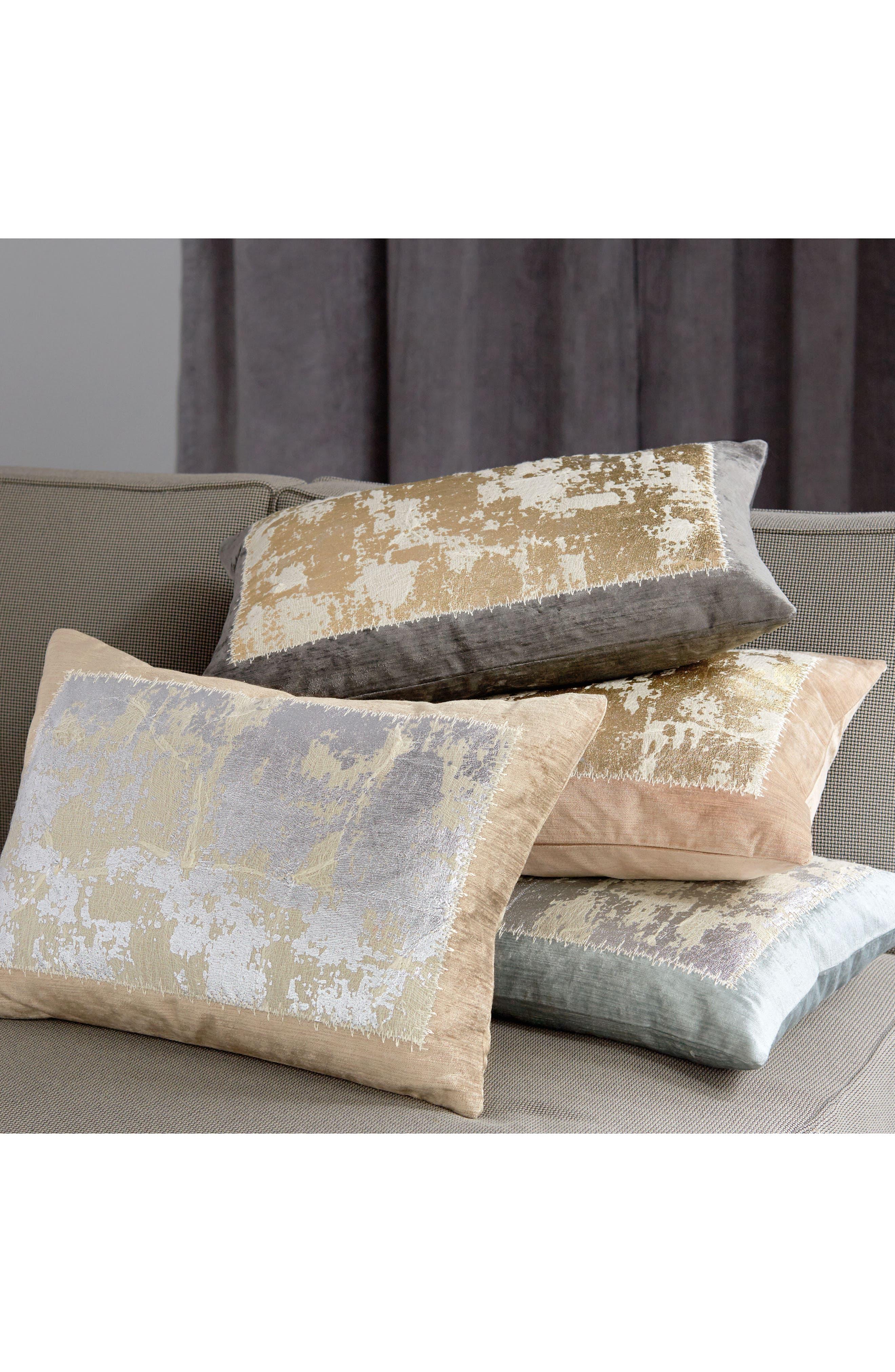 Distressed Metallic Accent Pillow,                             Alternate thumbnail 2, color,                             BLUSH