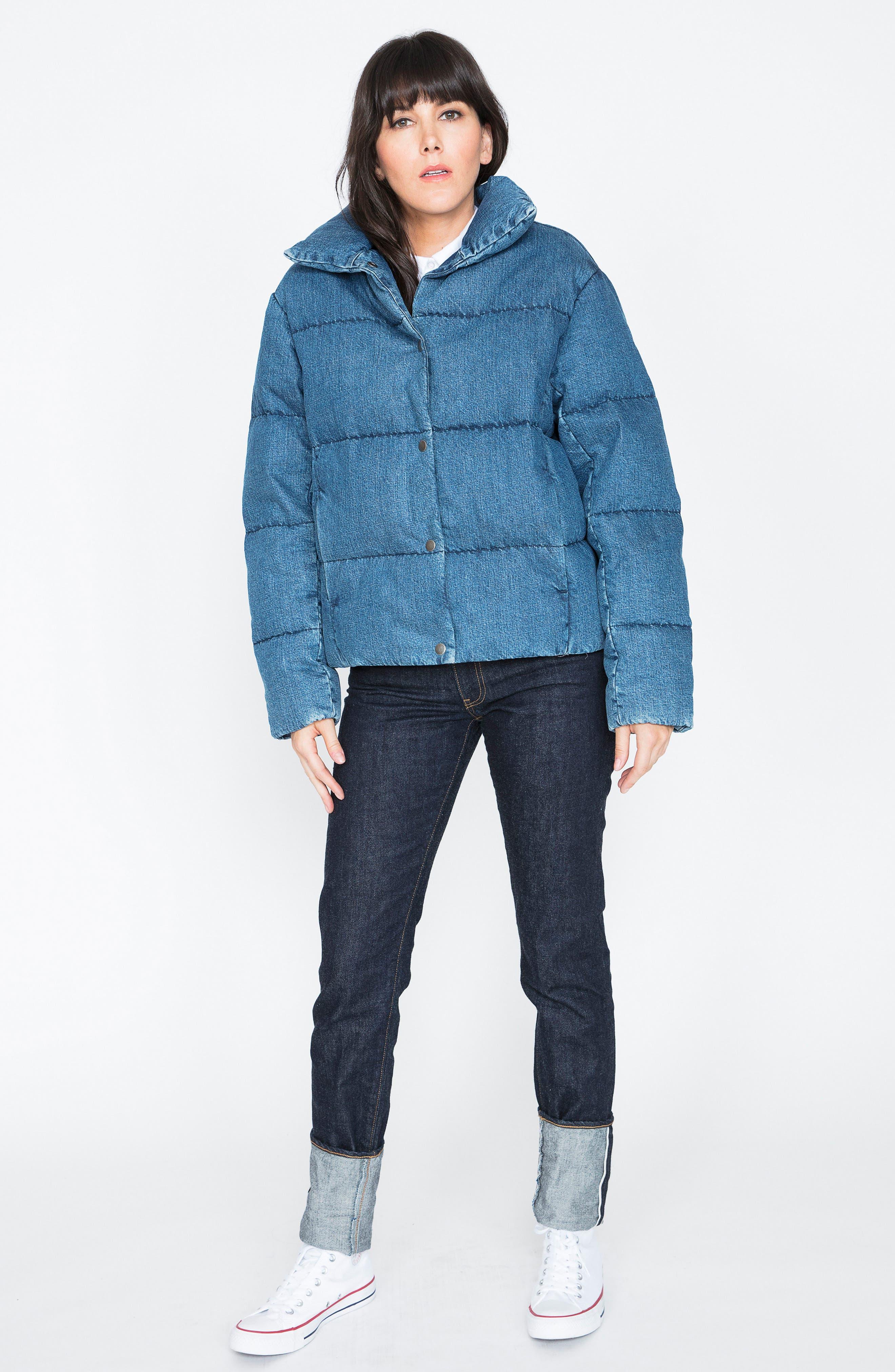 Denim Down Puffer Jacket,                             Alternate thumbnail 6, color,                             BLUE