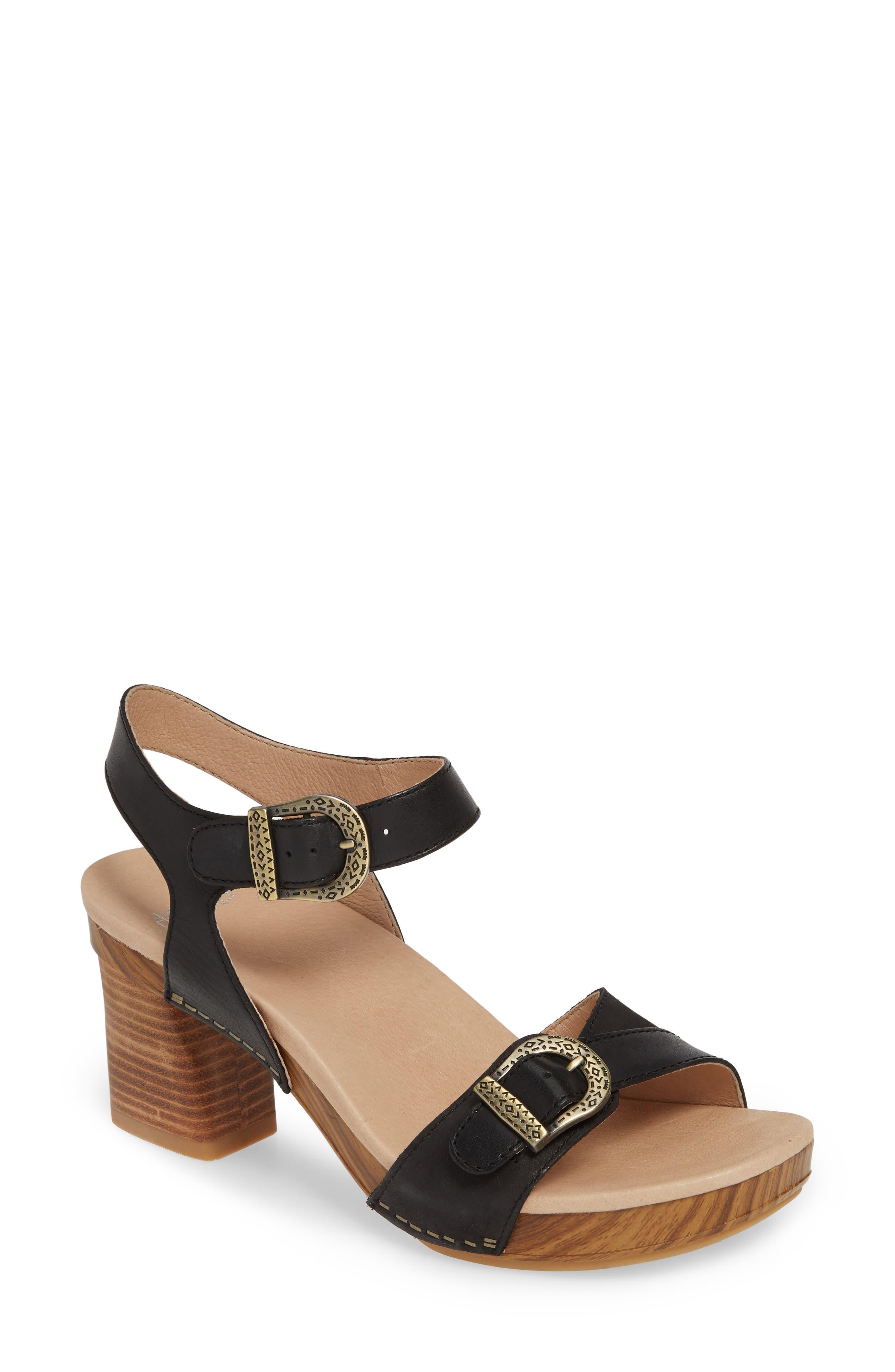 Anna Block Heel Sandal, Main, color, BLACK LEATHER