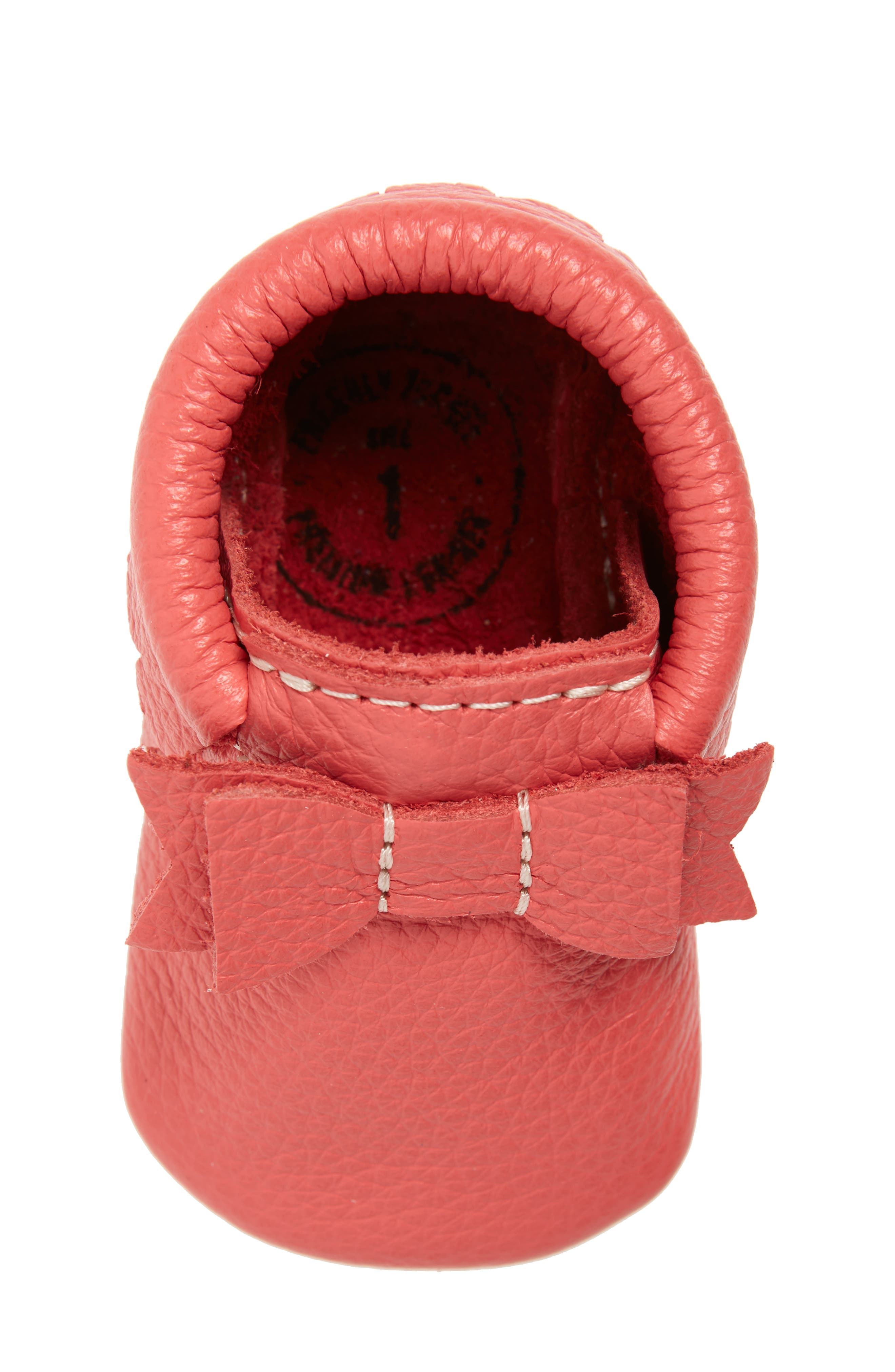 Metallic Bow Moccasin,                             Alternate thumbnail 5, color,                             PINK LEATHER