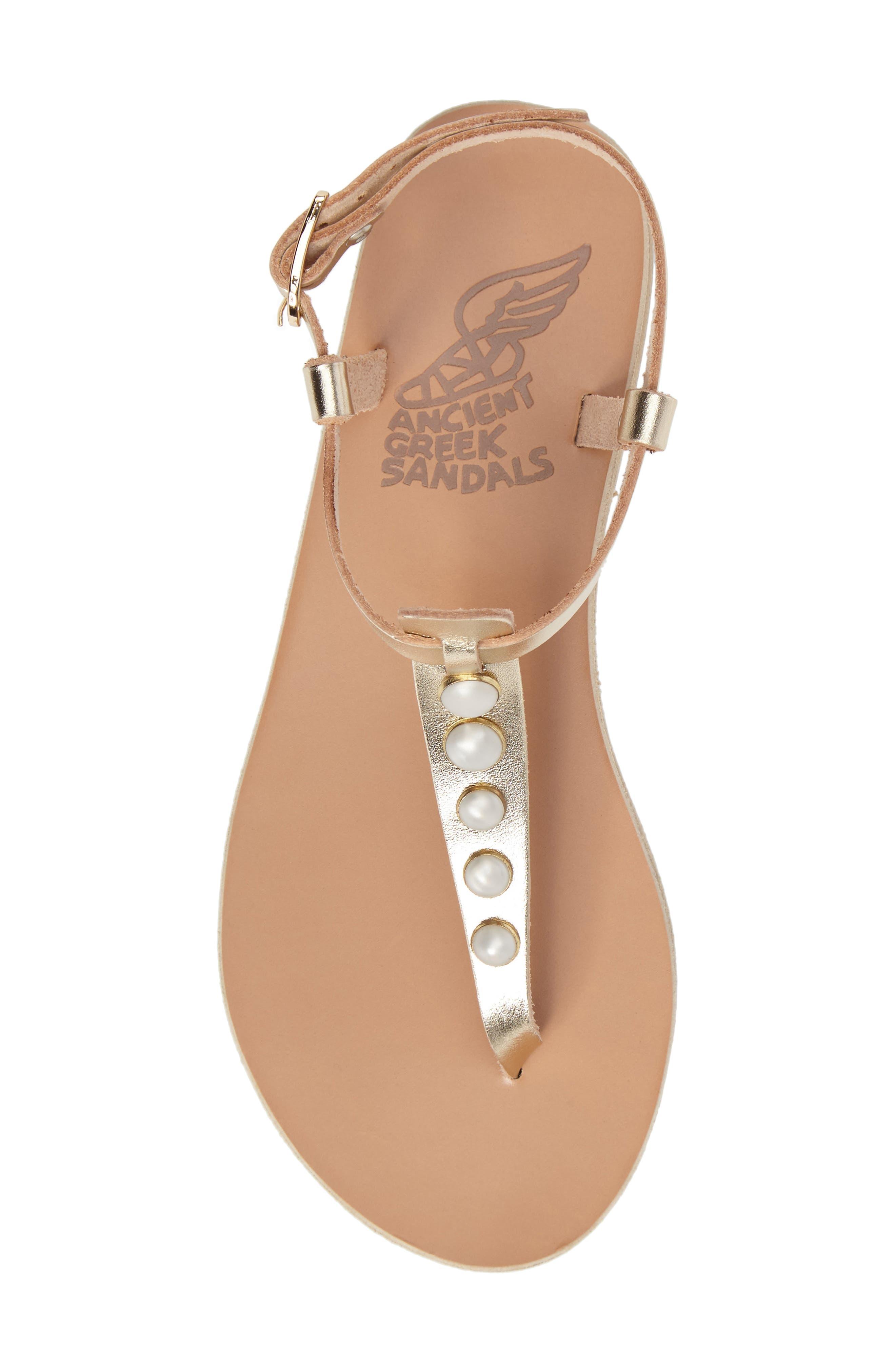 Lito Imitation Pearl Embellished T-Strap Sandal,                             Alternate thumbnail 5, color,                             040