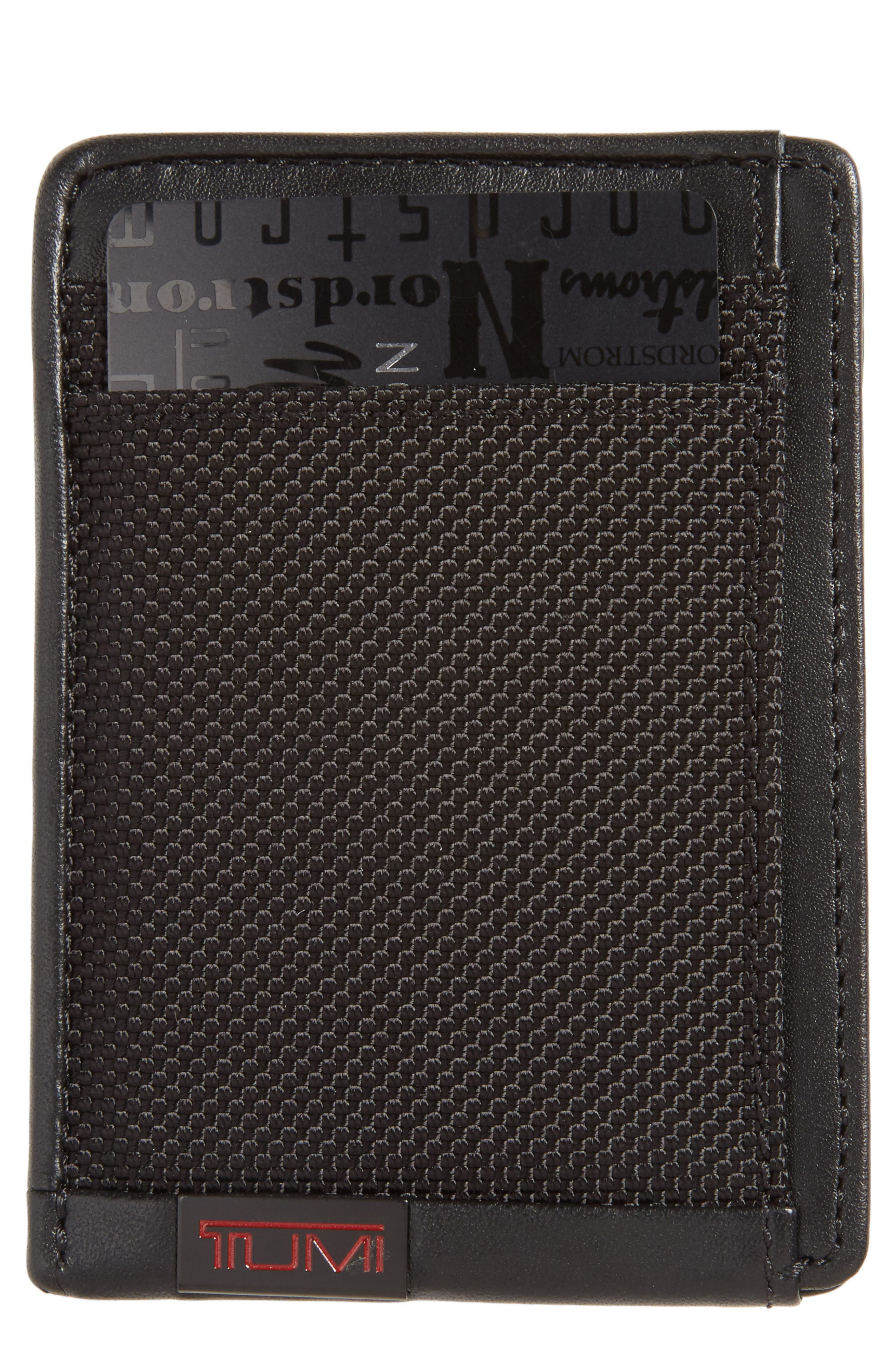 'Alpha' Money Clip Card Case, Main, color, 001