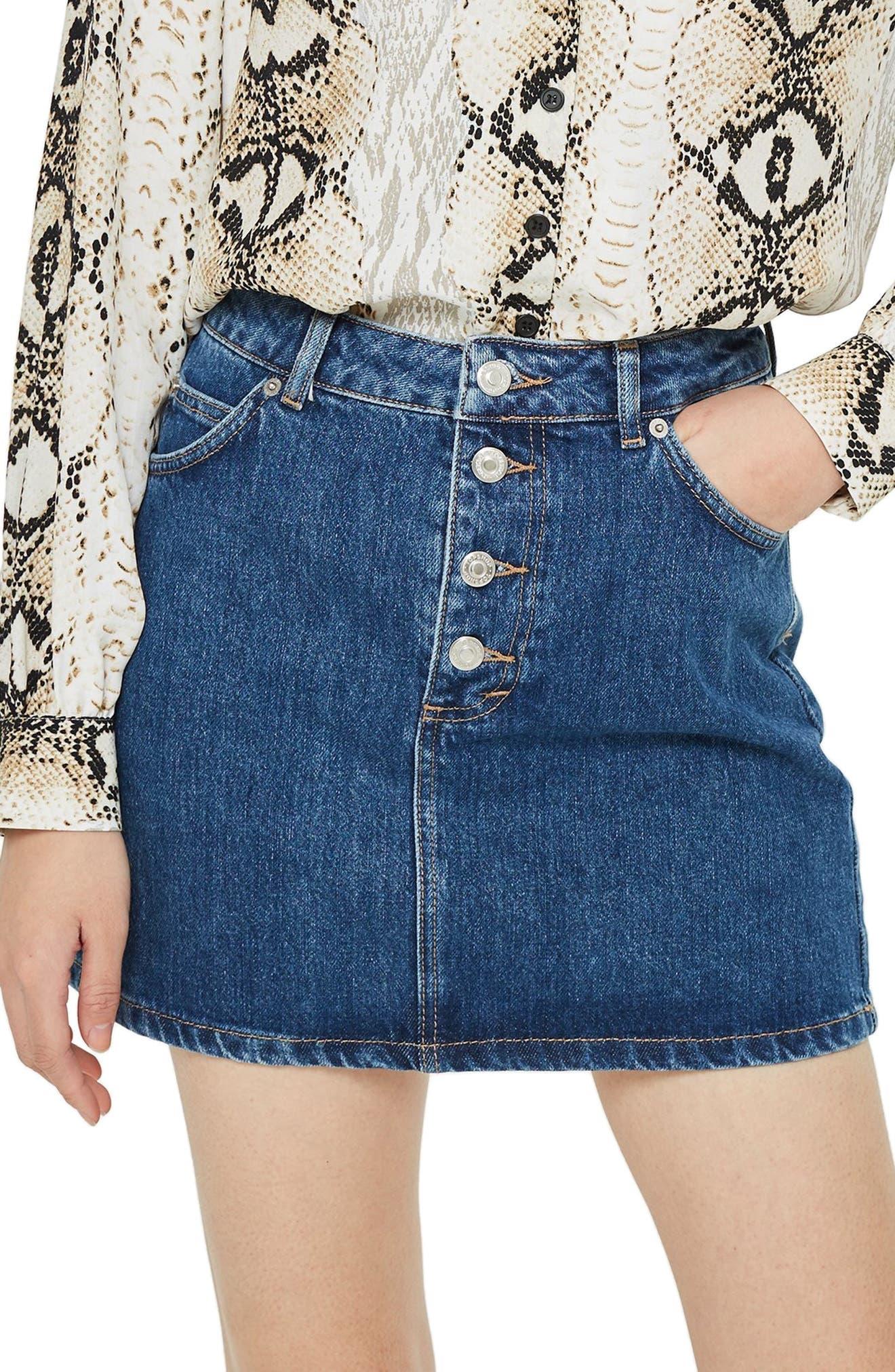Button Fly Denim Skirt,                             Main thumbnail 1, color,                             MID DENIM