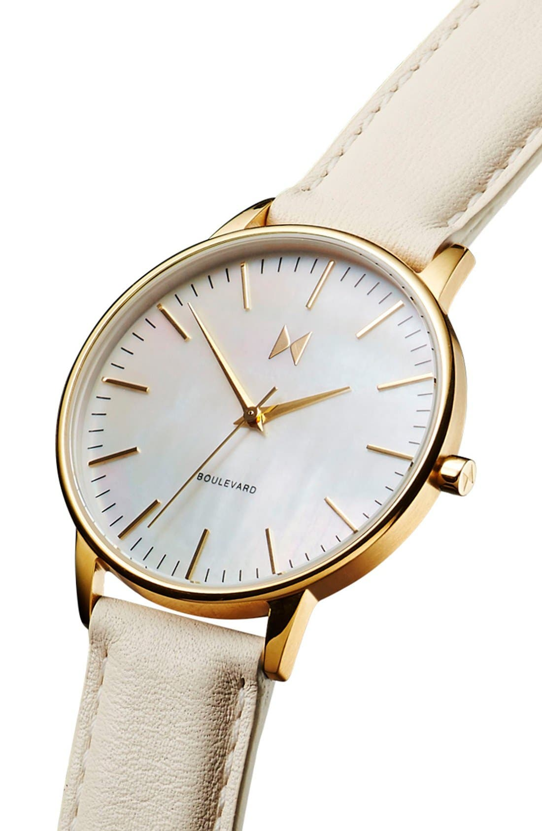 Boulevard Leather Strap Watch, 38mm,                             Alternate thumbnail 3, color,                             CREAM/ MOTHER OF PEARL/ GOLD