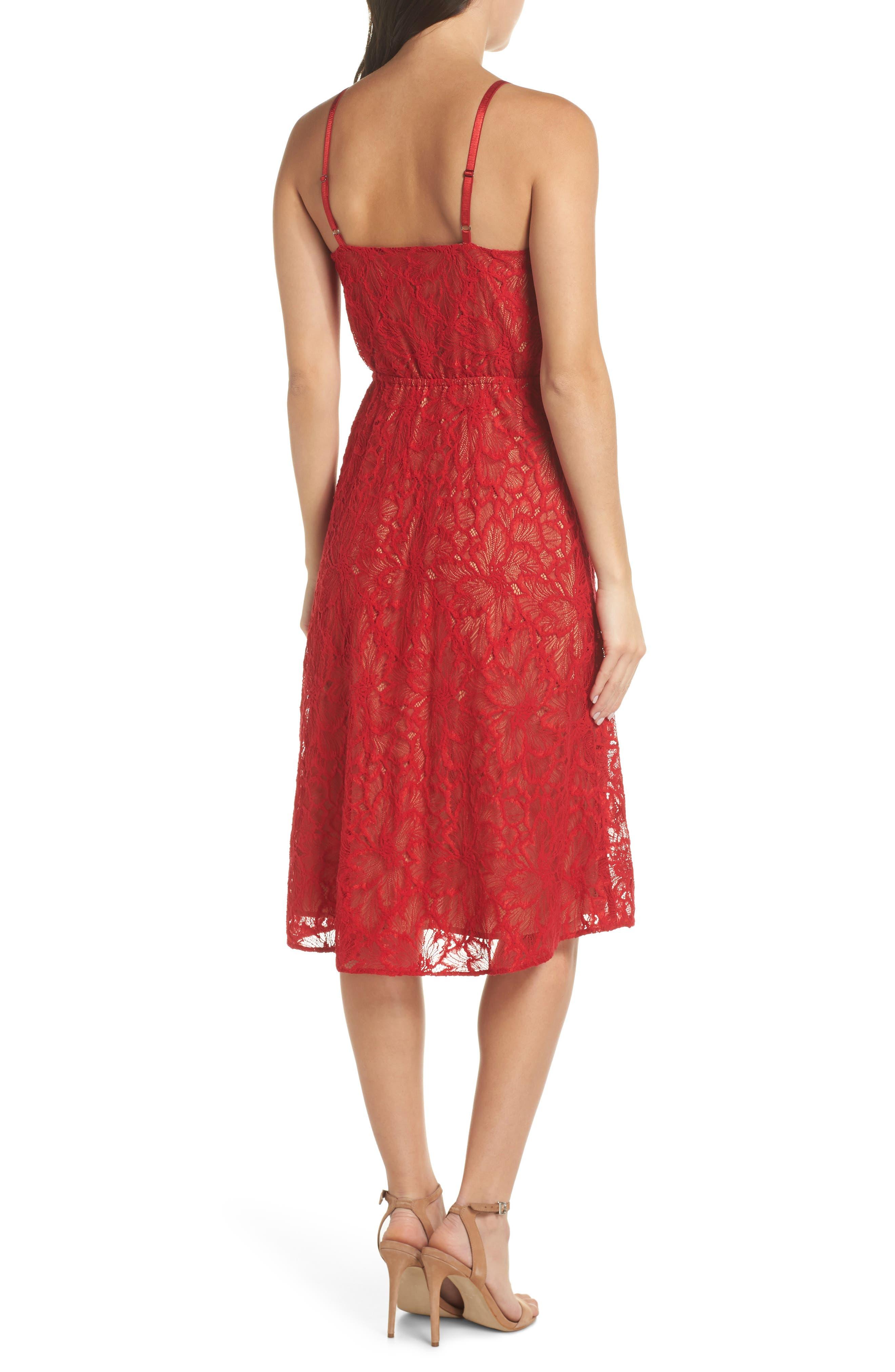 ALI & JAY,                             Cheek to Cheek Lace Midi Dress,                             Alternate thumbnail 2, color,                             SCARLET