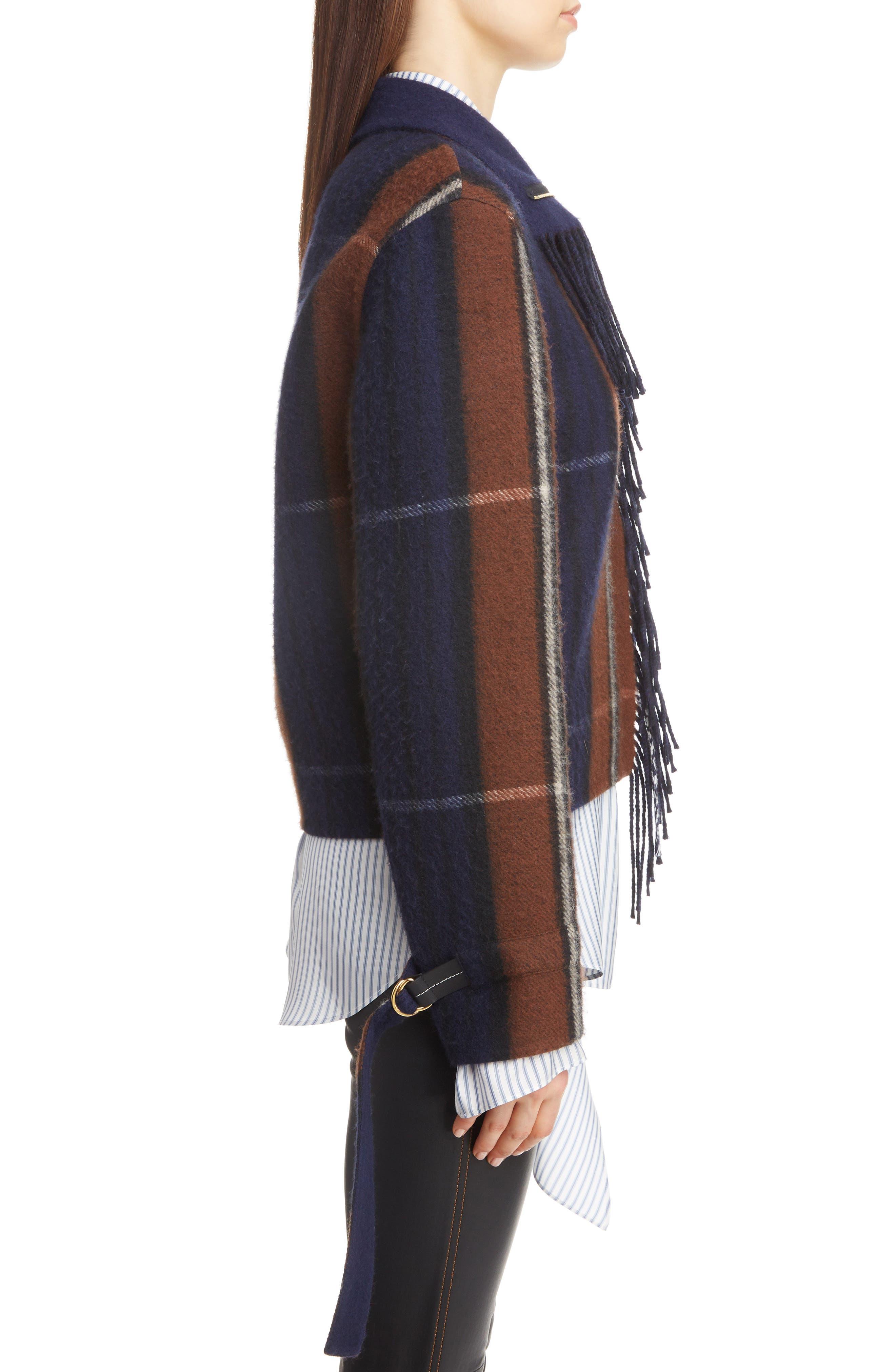 Plaid Fringe Trim Wool & Cashmere Jacket,                             Alternate thumbnail 3, color,                             467