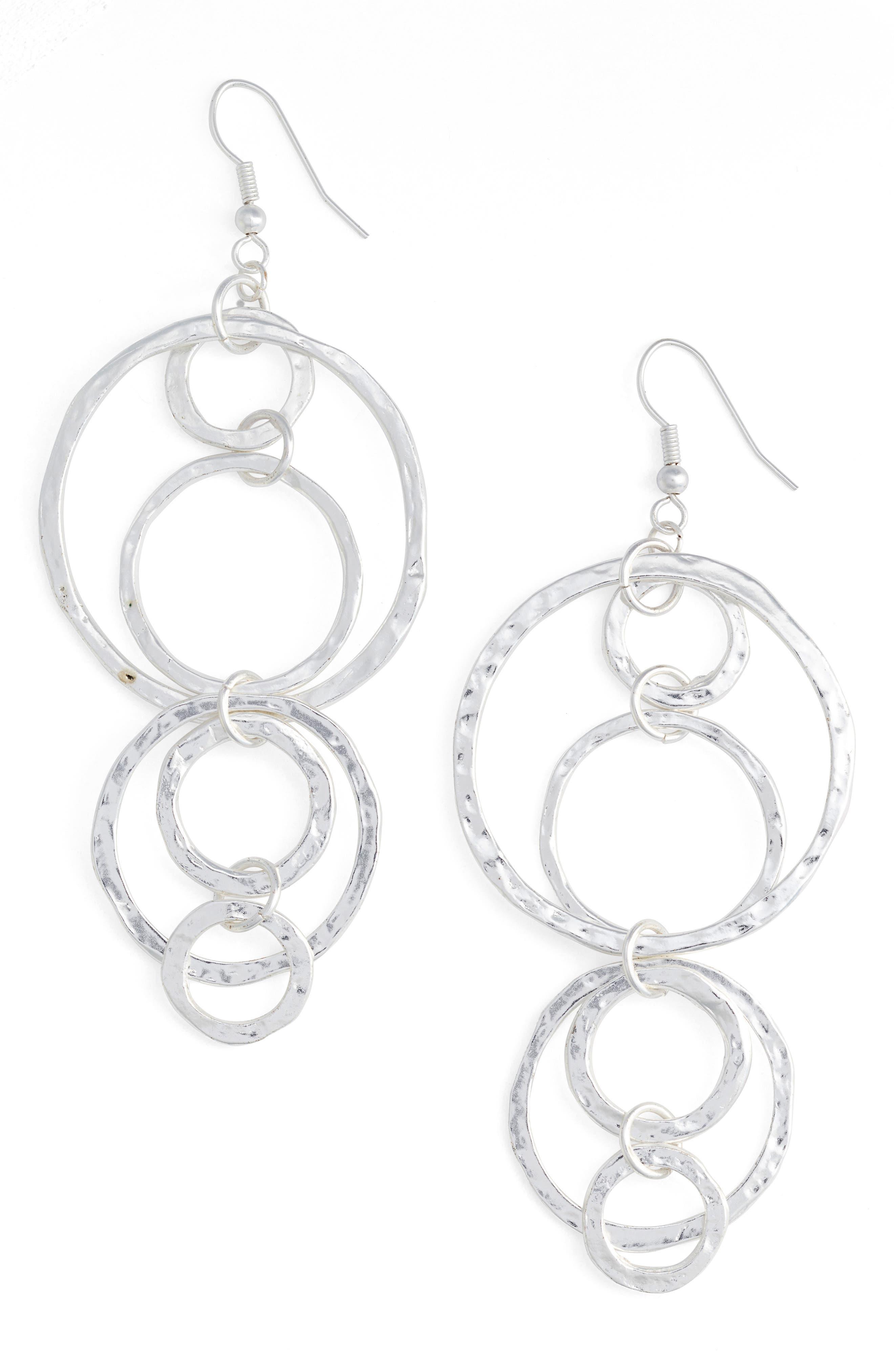 Louane Multi Circle Drop Earrings,                             Main thumbnail 1, color,                             SILVER