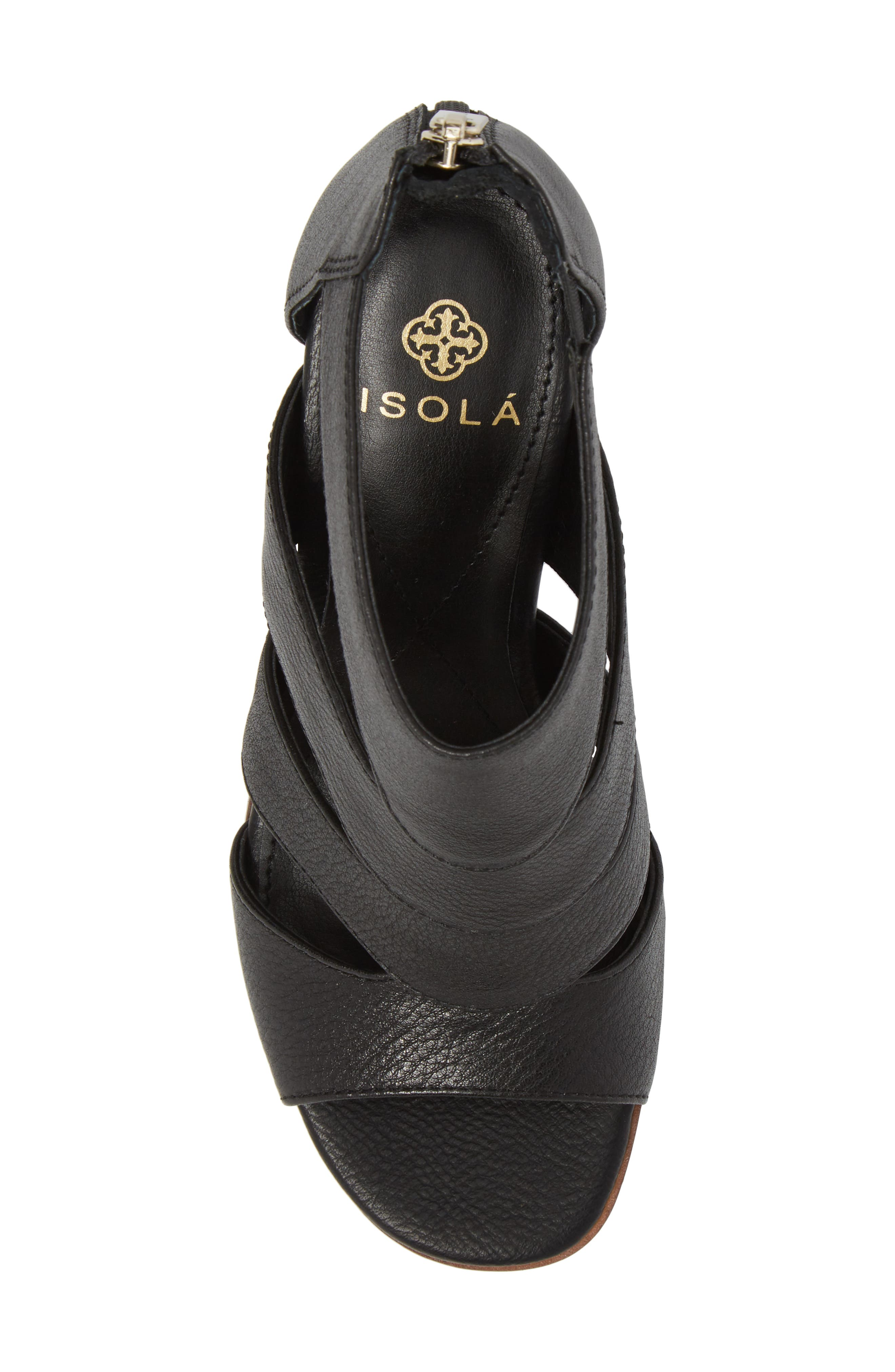 Isola Rona Sandal,                             Alternate thumbnail 5, color,                             BLACK LEATHER