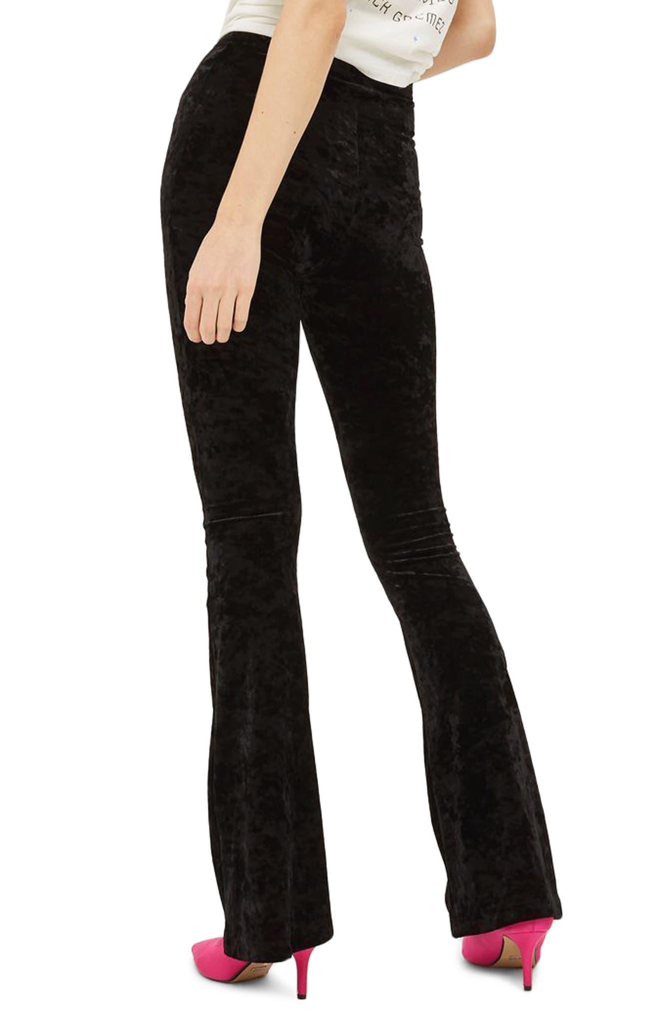 Velvet Flare Leg Trousers,                             Alternate thumbnail 2, color,                             001