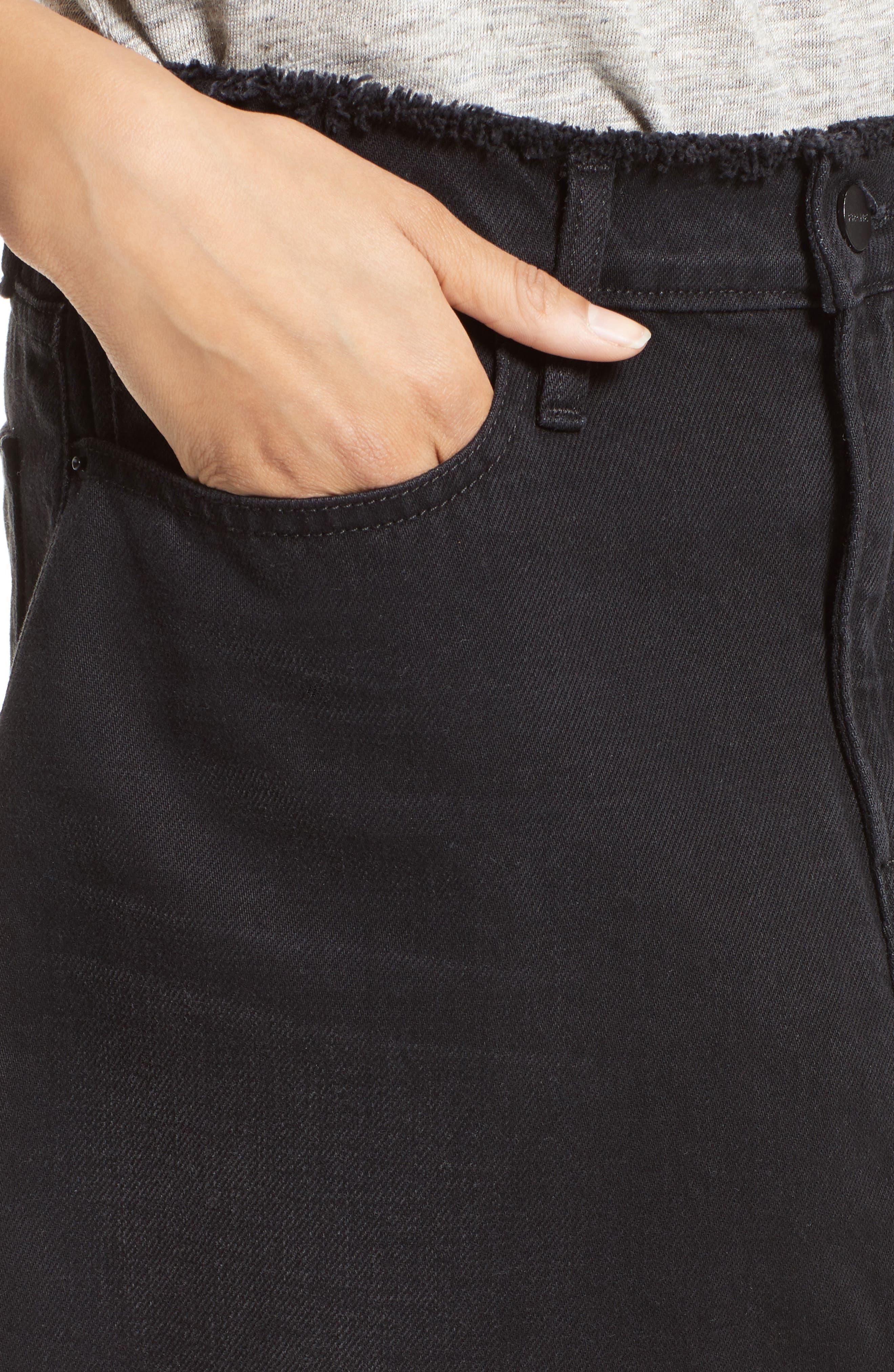 Le Mini Denim Skirt,                             Alternate thumbnail 4, color,                             001