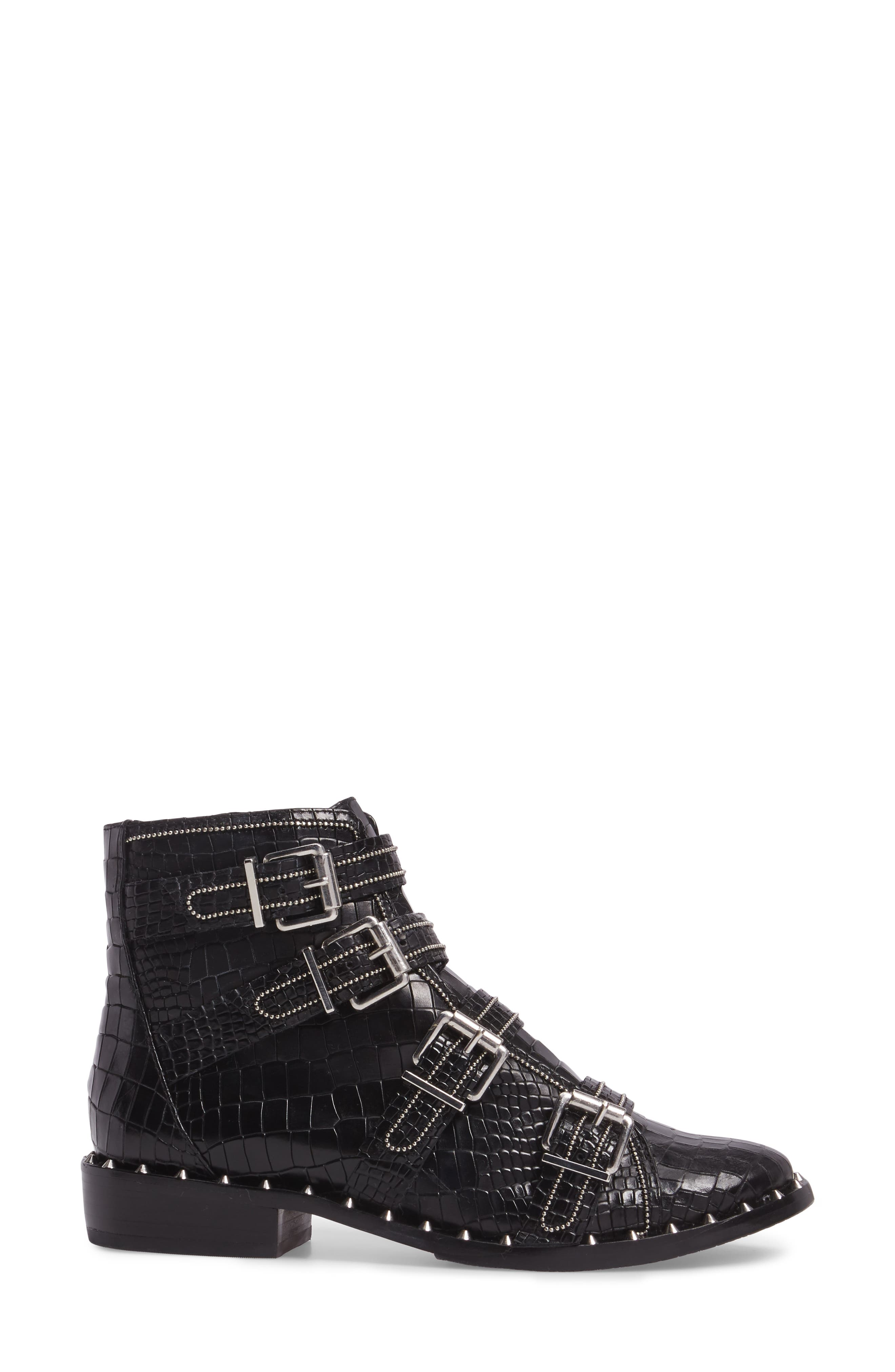 Darcey Studded Croc Embossed Bootie,                             Alternate thumbnail 3, color,                             001