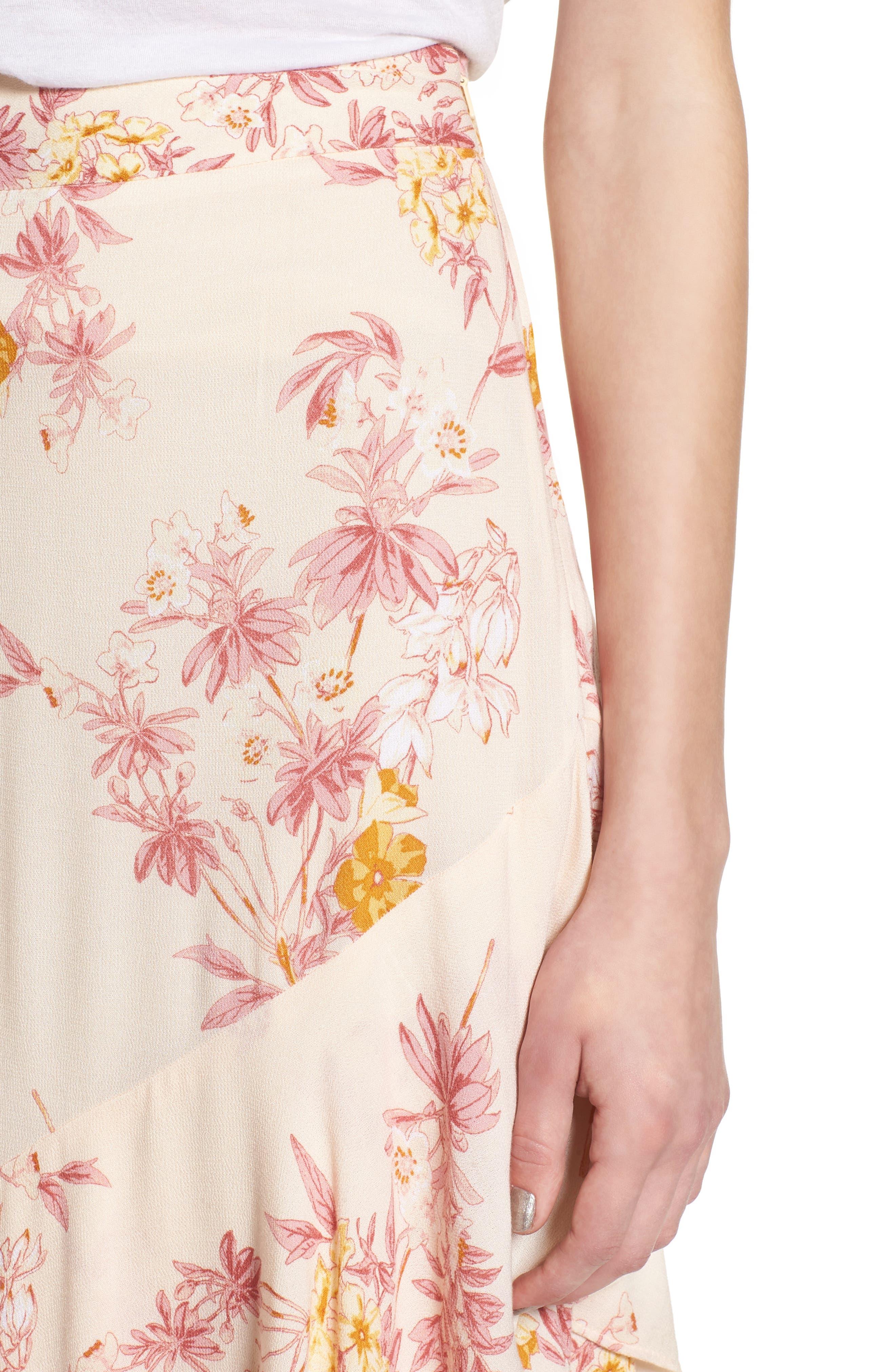 Print High/Low Midi Skirt,                             Alternate thumbnail 4, color,                             260