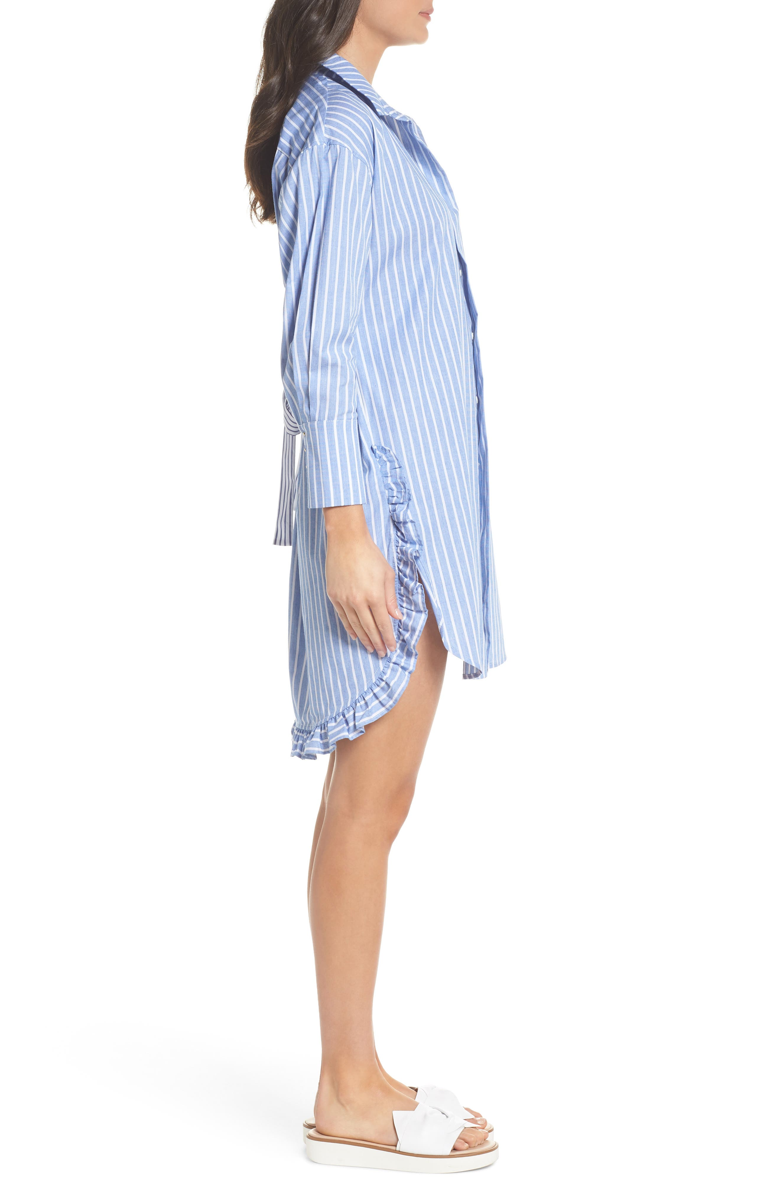 Stripe Shirtdress,                             Alternate thumbnail 3, color,                             465