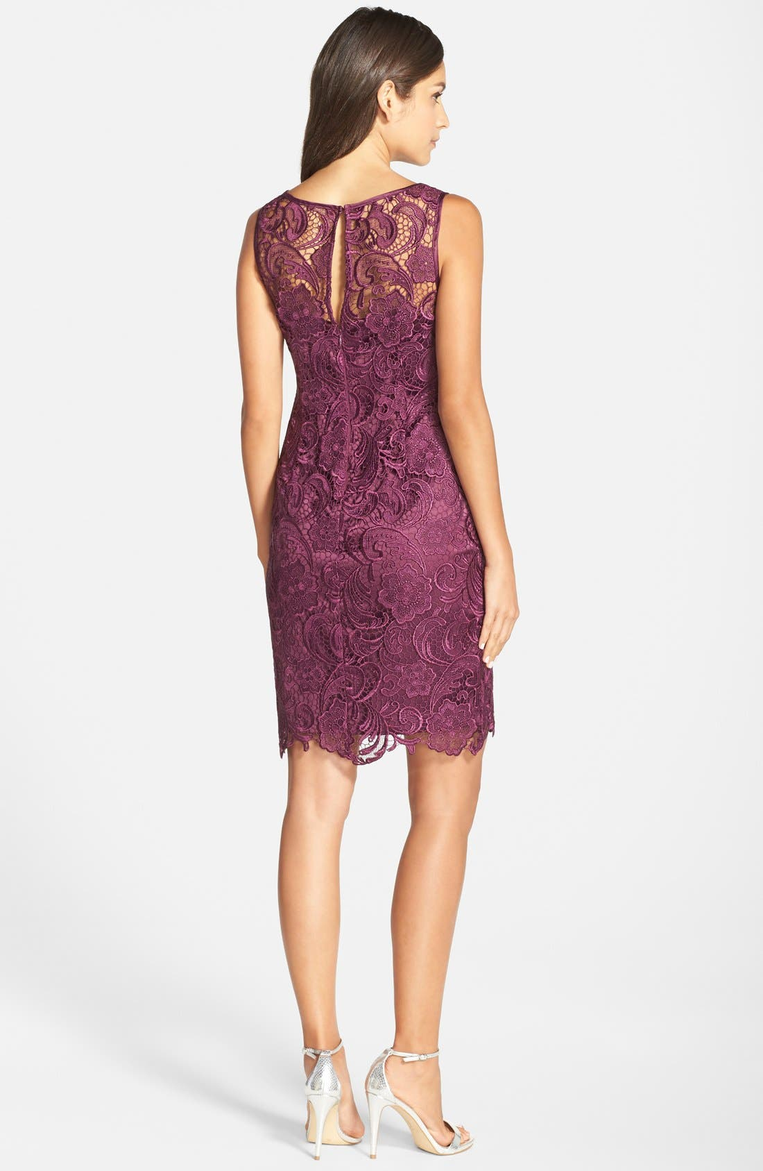 Illusion Bodice Lace Sheath Dress,                             Alternate thumbnail 20, color,