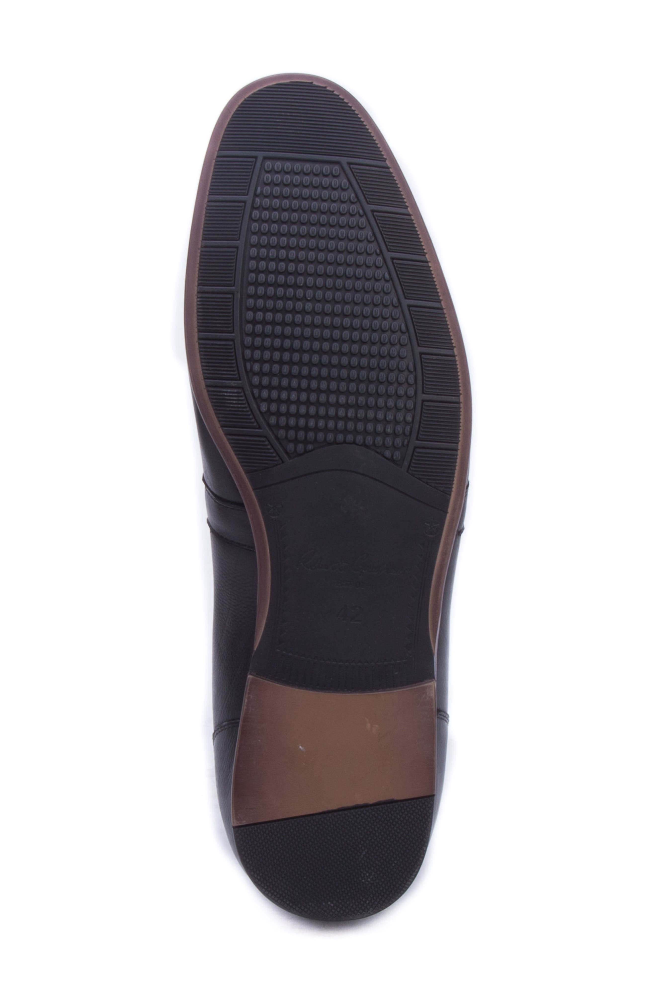 Robinson Whipstitch Apron Toe Loafer,                             Alternate thumbnail 6, color,                             BLACK LEATHER