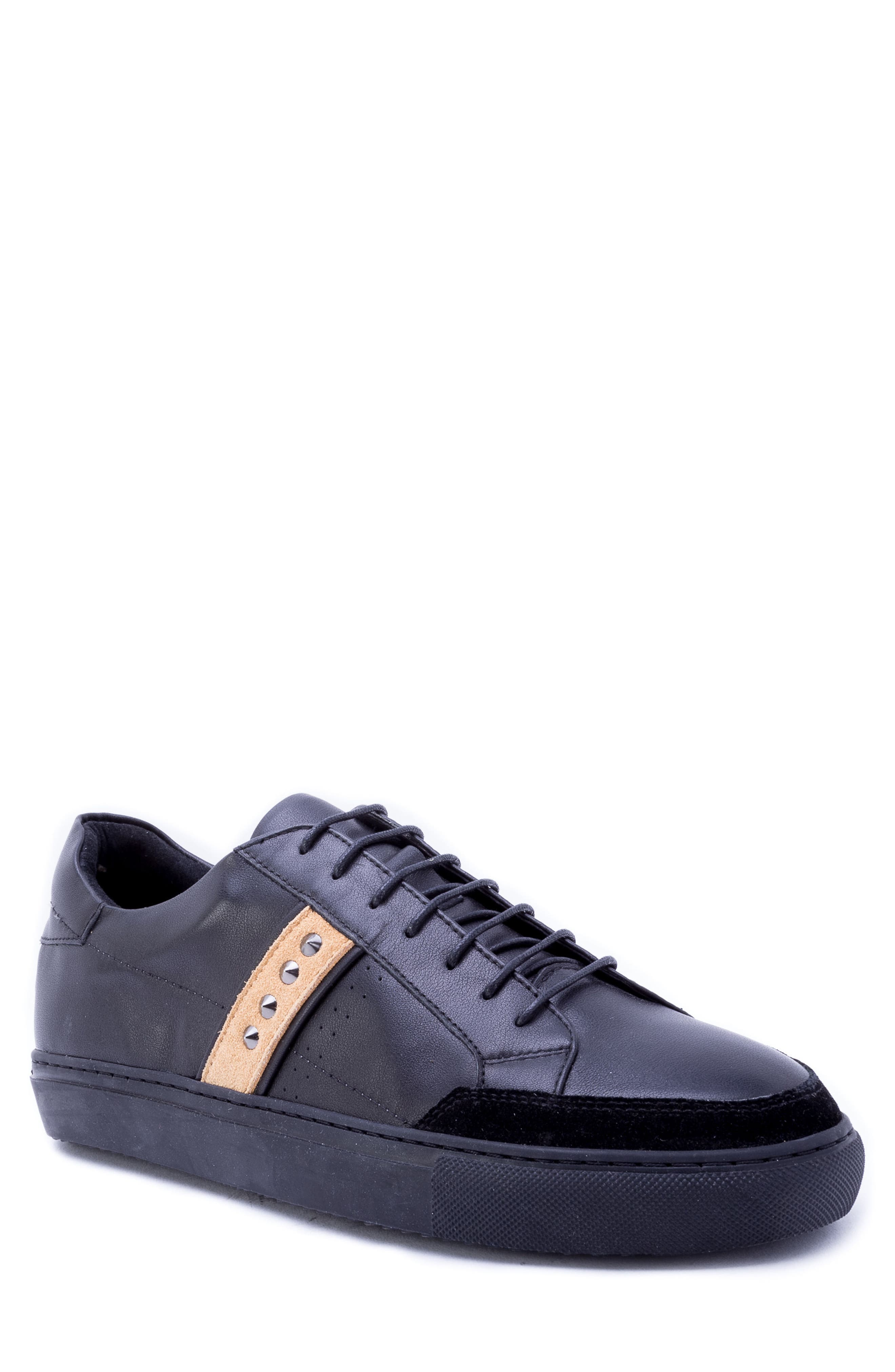 Badgley Mischka Connery Sneaker,                         Main,                         color, BLACK LEATHER