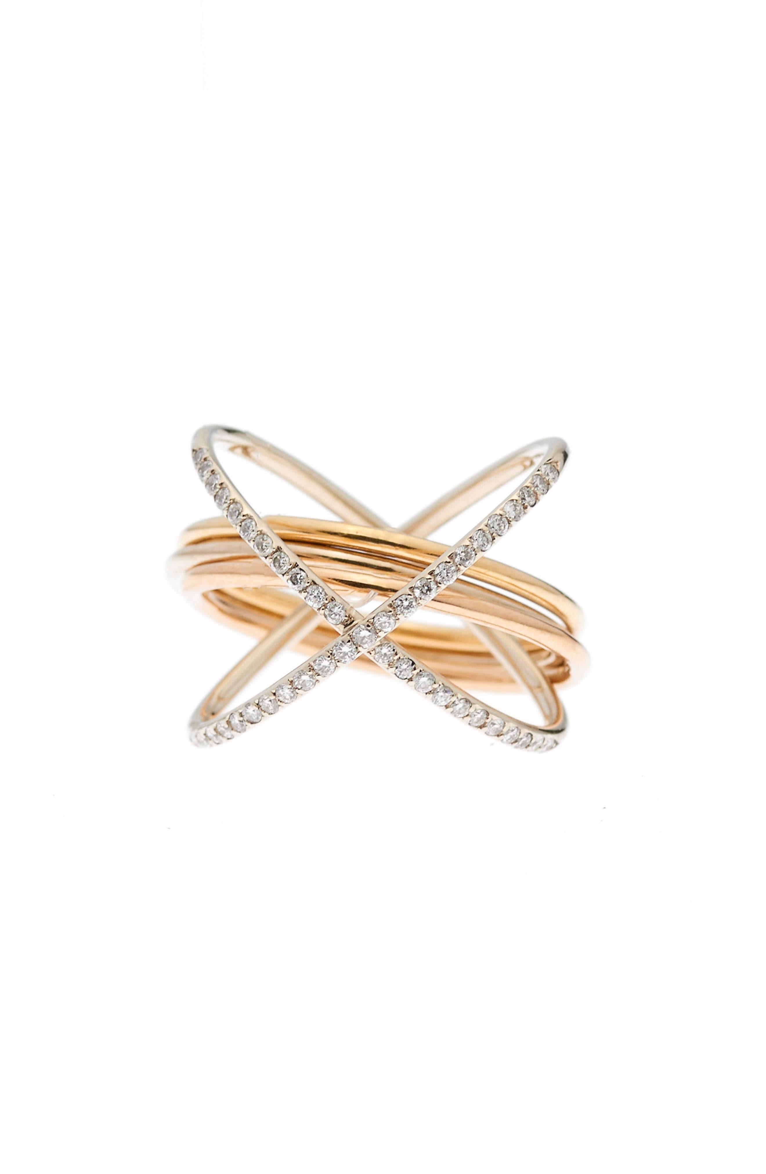 XXO Diamond Ring,                             Main thumbnail 1, color,                             YELLOW ROSE WHITE GOLD