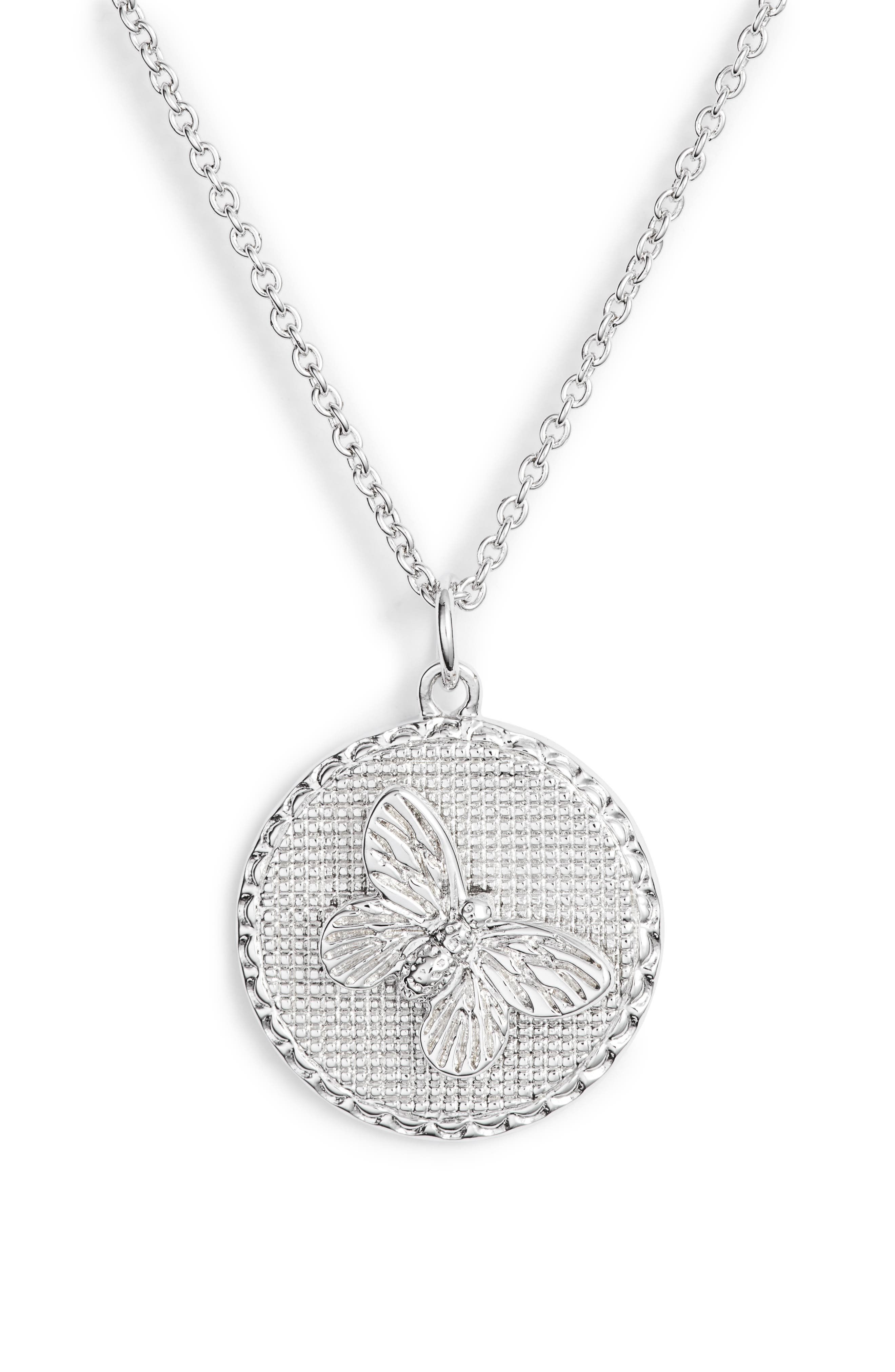 OLIVIA BURTON 3-D Butterfly Pendant Chain Necklace, 16 in Silver