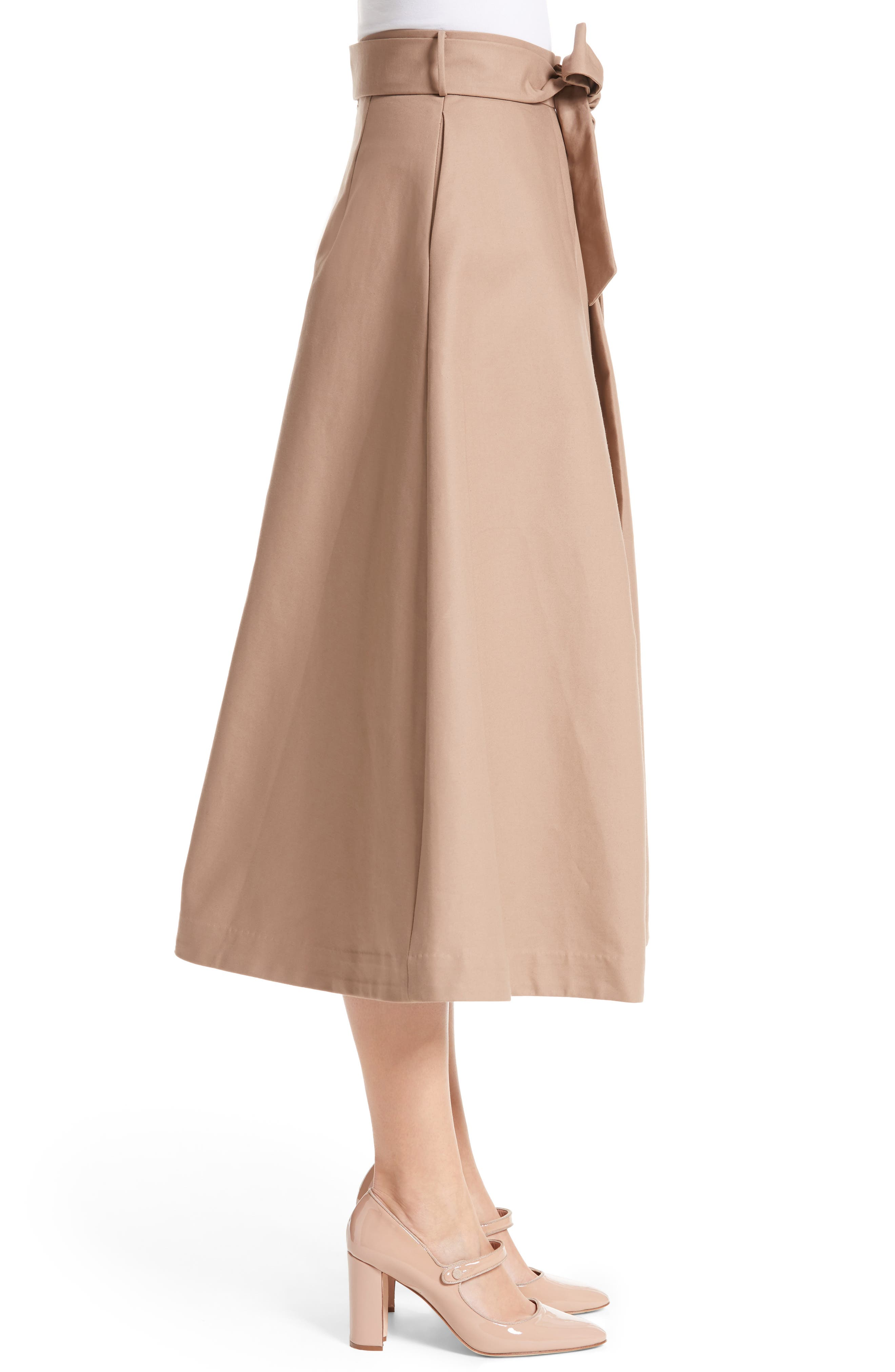 Belted Cotton Skirt,                             Alternate thumbnail 3, color,                             240