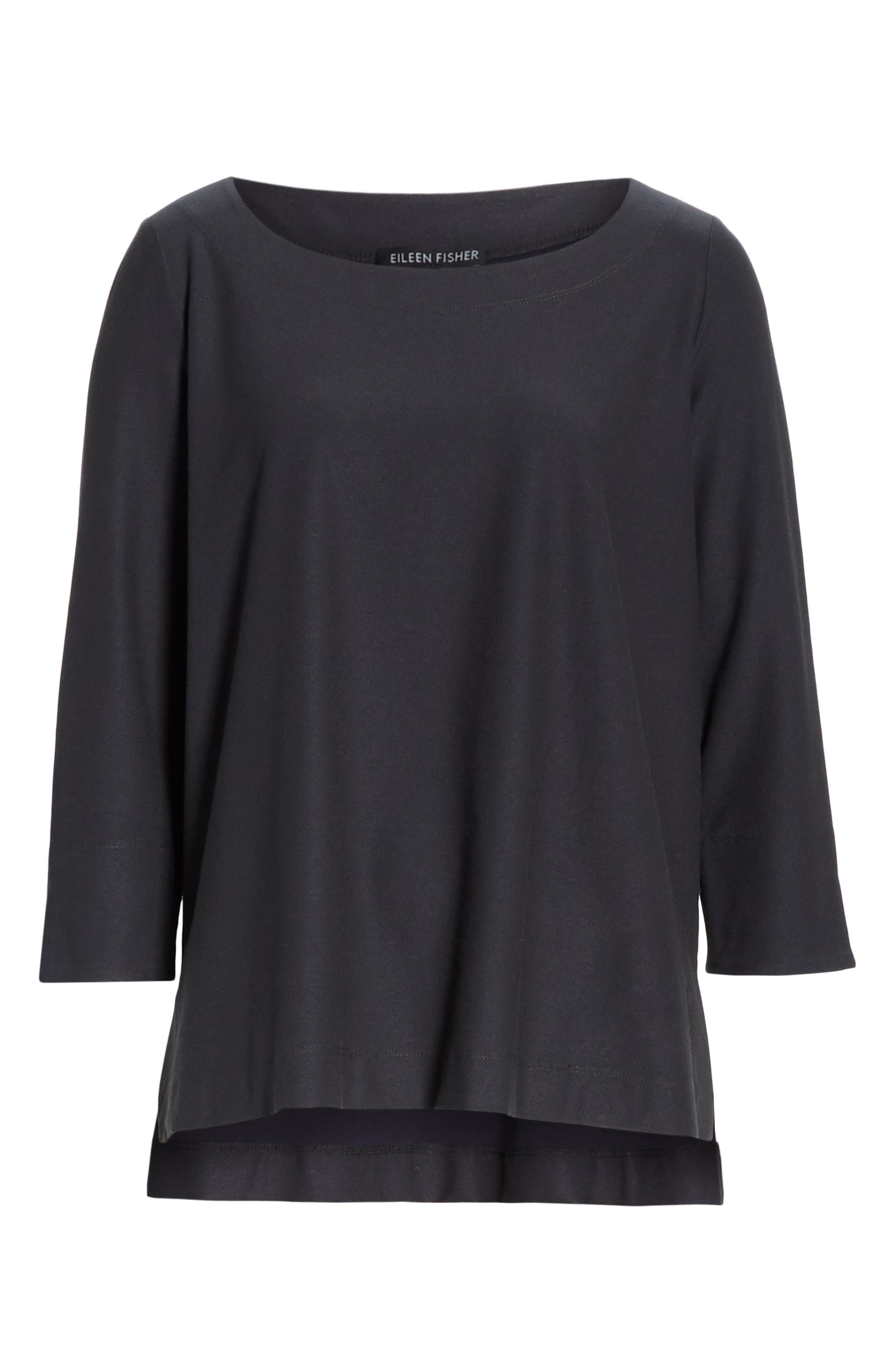 EILEEN FISHER,                             Boxy Jersey Top,                             Alternate thumbnail 6, color,                             GRAPHITE