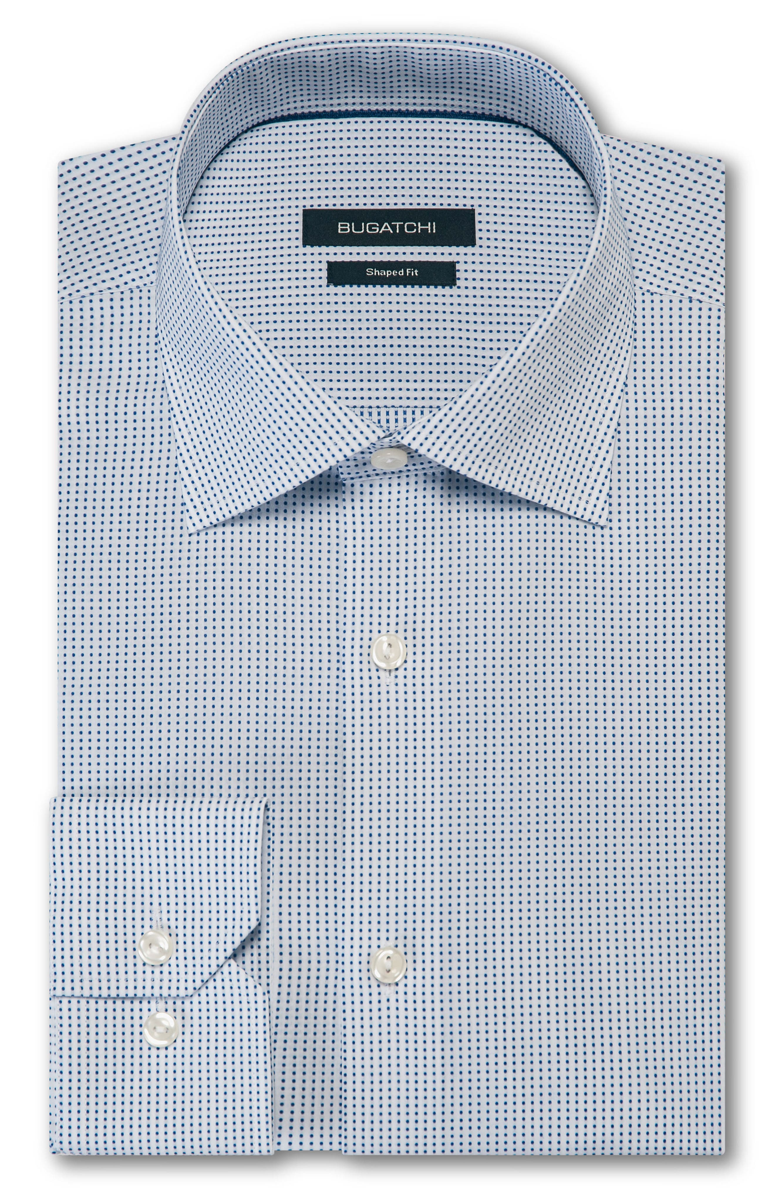 BUGATCHI,                             Trim Fit Dot Dress Shirt,                             Main thumbnail 1, color,                             100