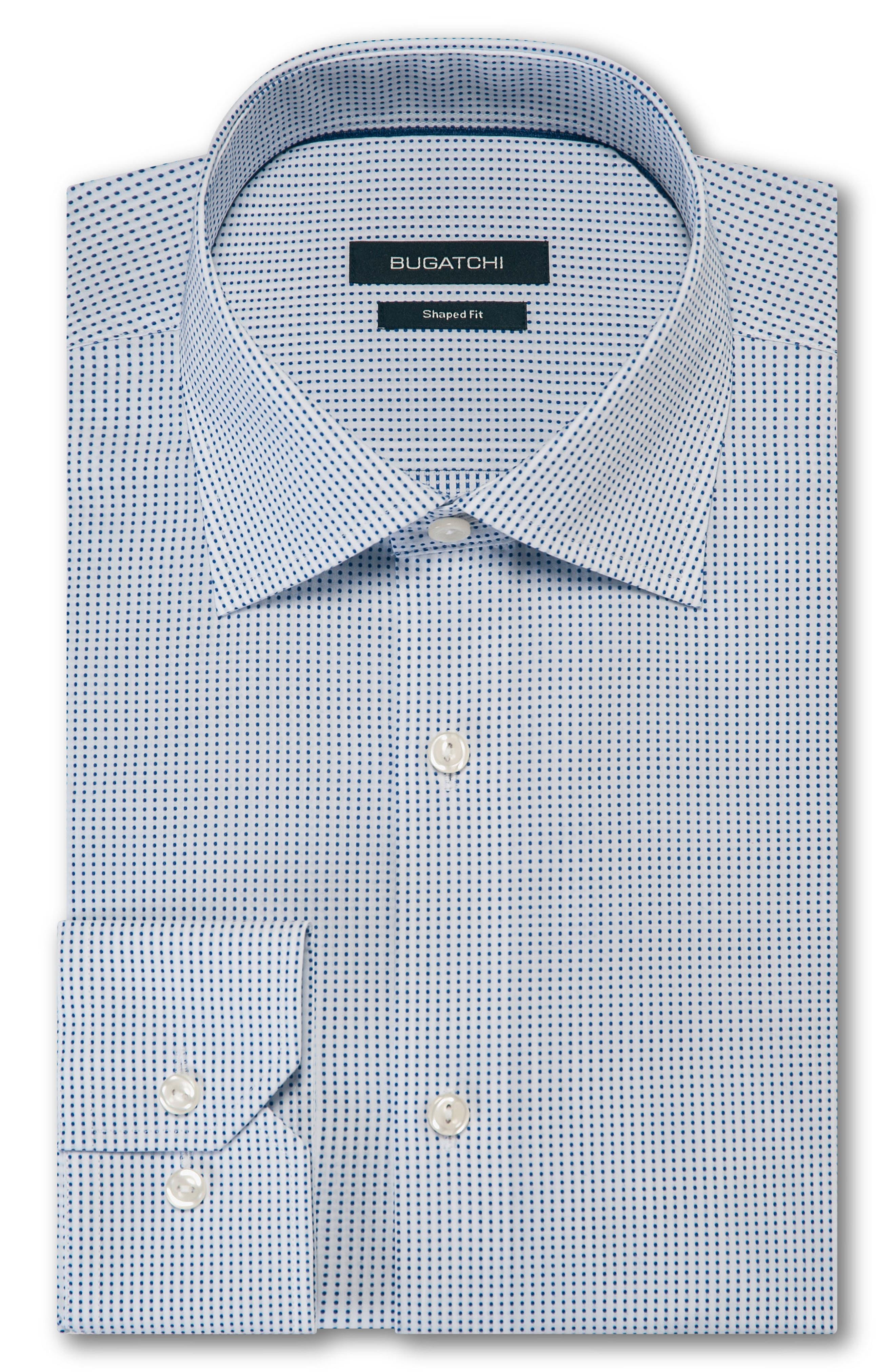 BUGATCHI Trim Fit Dot Dress Shirt, Main, color, 100