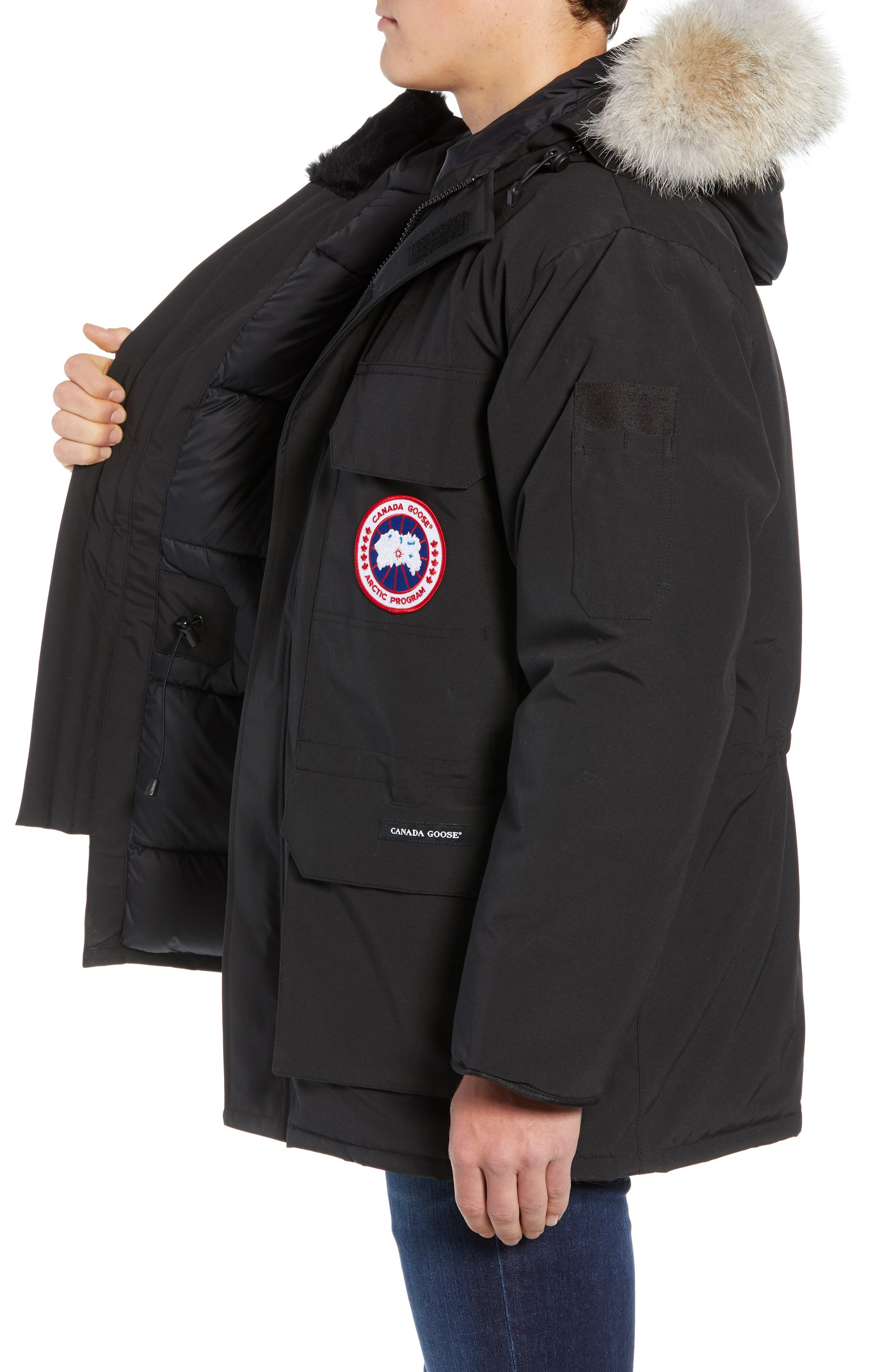 PBI Expedition Regular Fit Down Parka with Genuine Coyote Fur Trim,                             Alternate thumbnail 3, color,                             001
