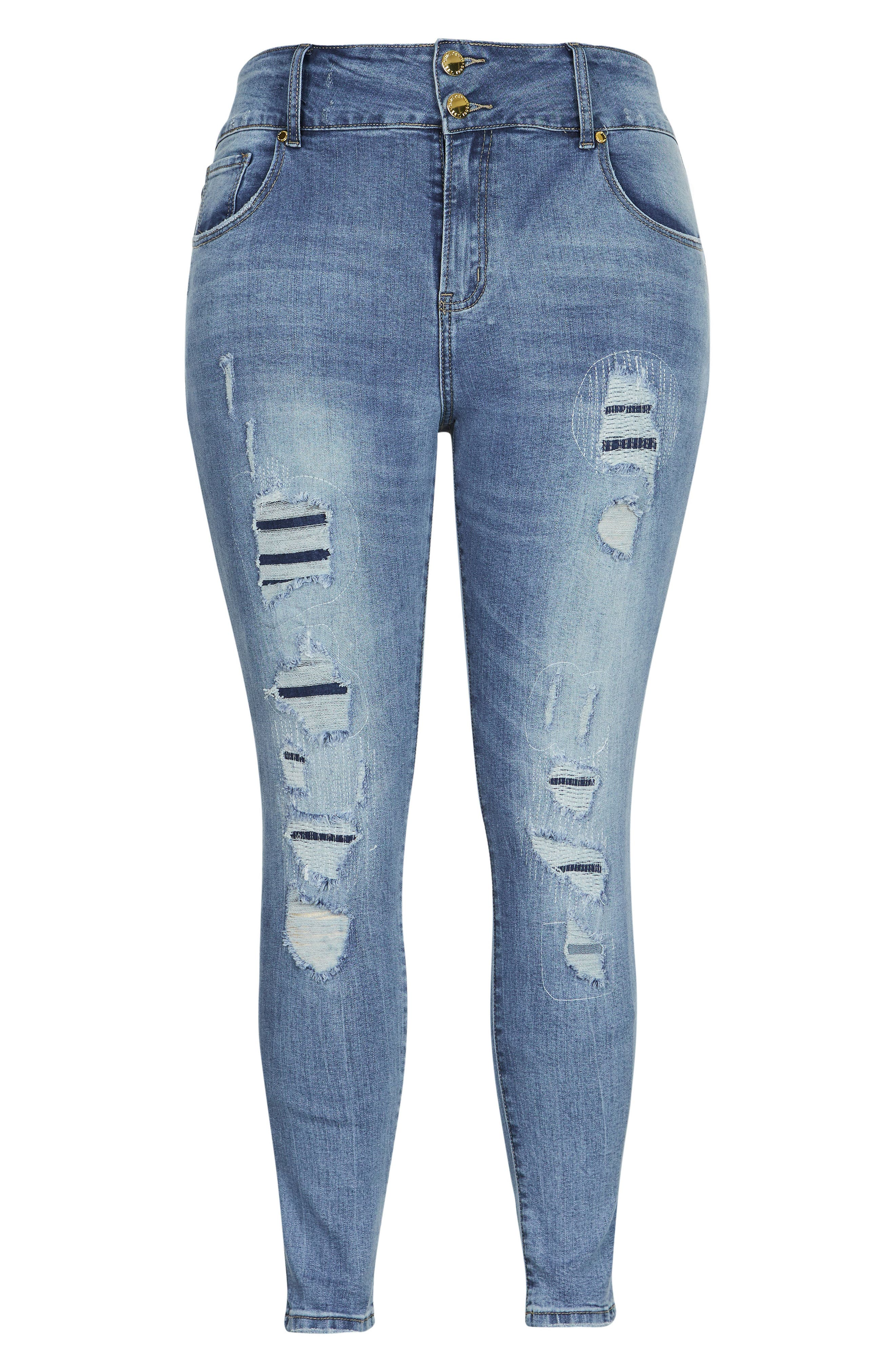 Asha Patched Ankle Skinny Jeans,                             Alternate thumbnail 3, color,                             DENIM MID
