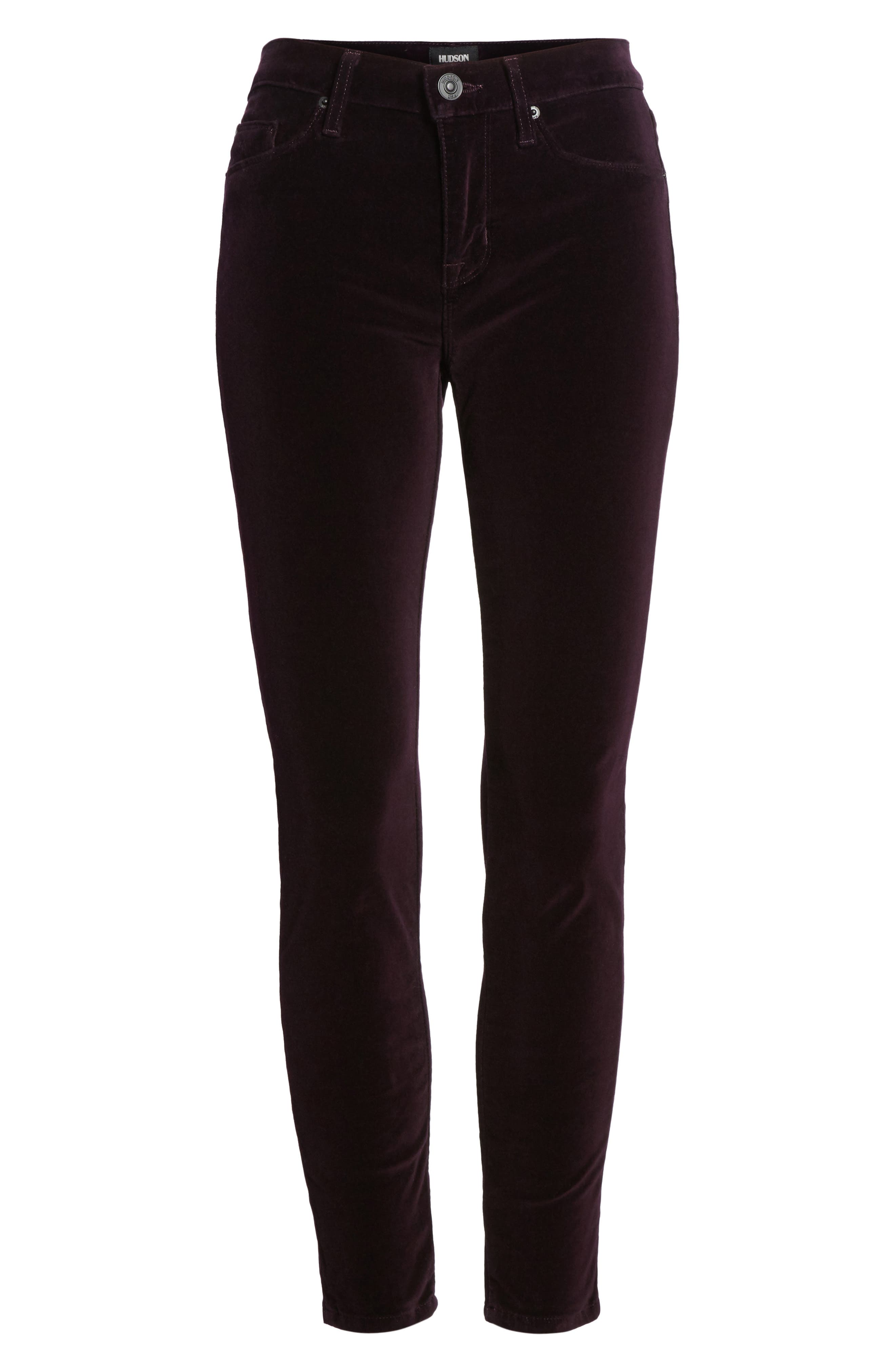 Nico Ankle Skinny Velvet Pants,                             Alternate thumbnail 6, color,                             500