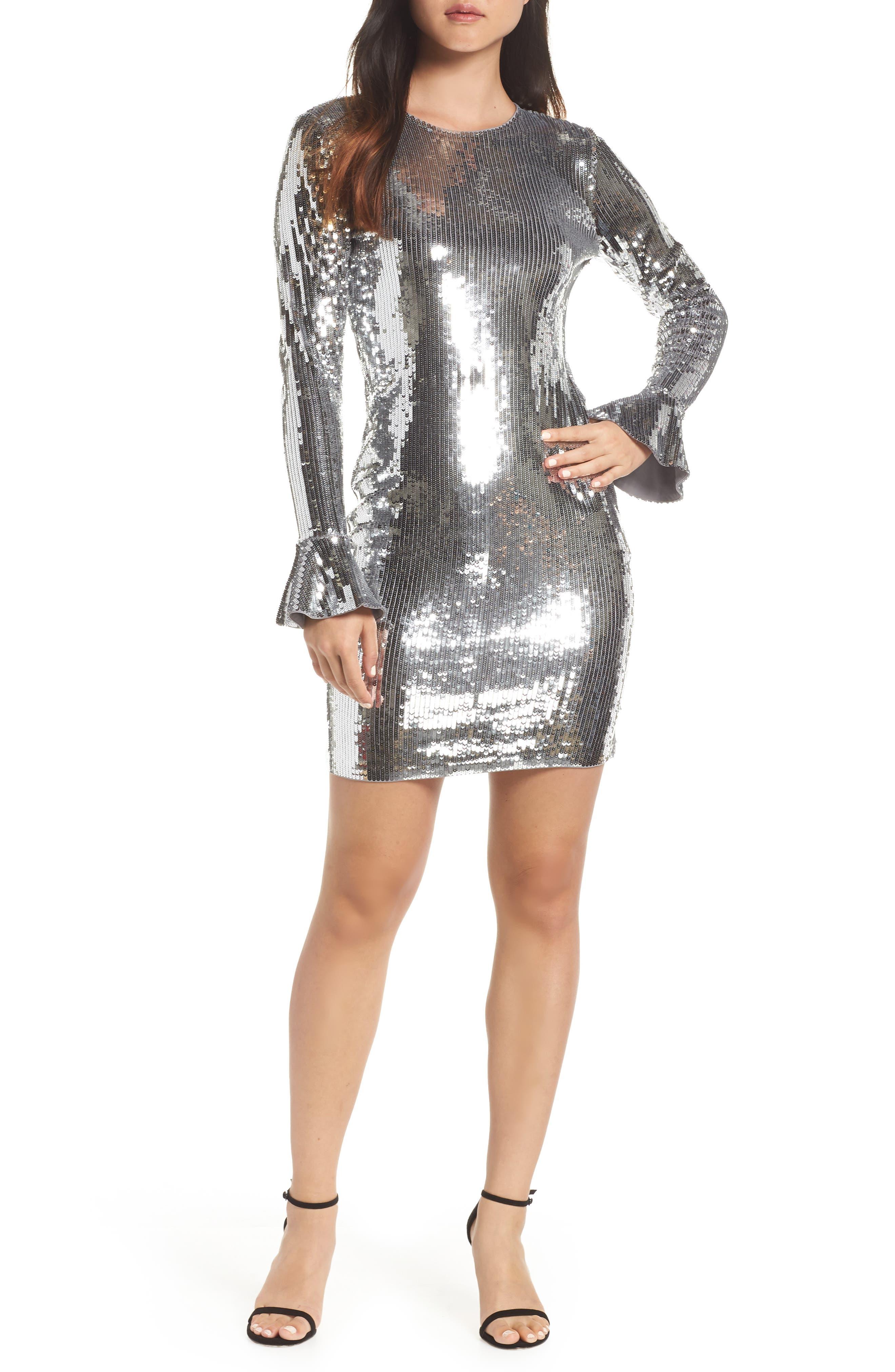 Sequin Ruffle Cuff Dress,                         Main,                         color, CONCRETE