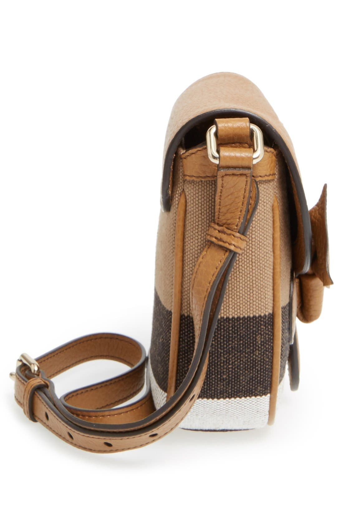 BURBERRY,                             Canvas Check & Leather Crossbody Bag,                             Alternate thumbnail 4, color,                             251