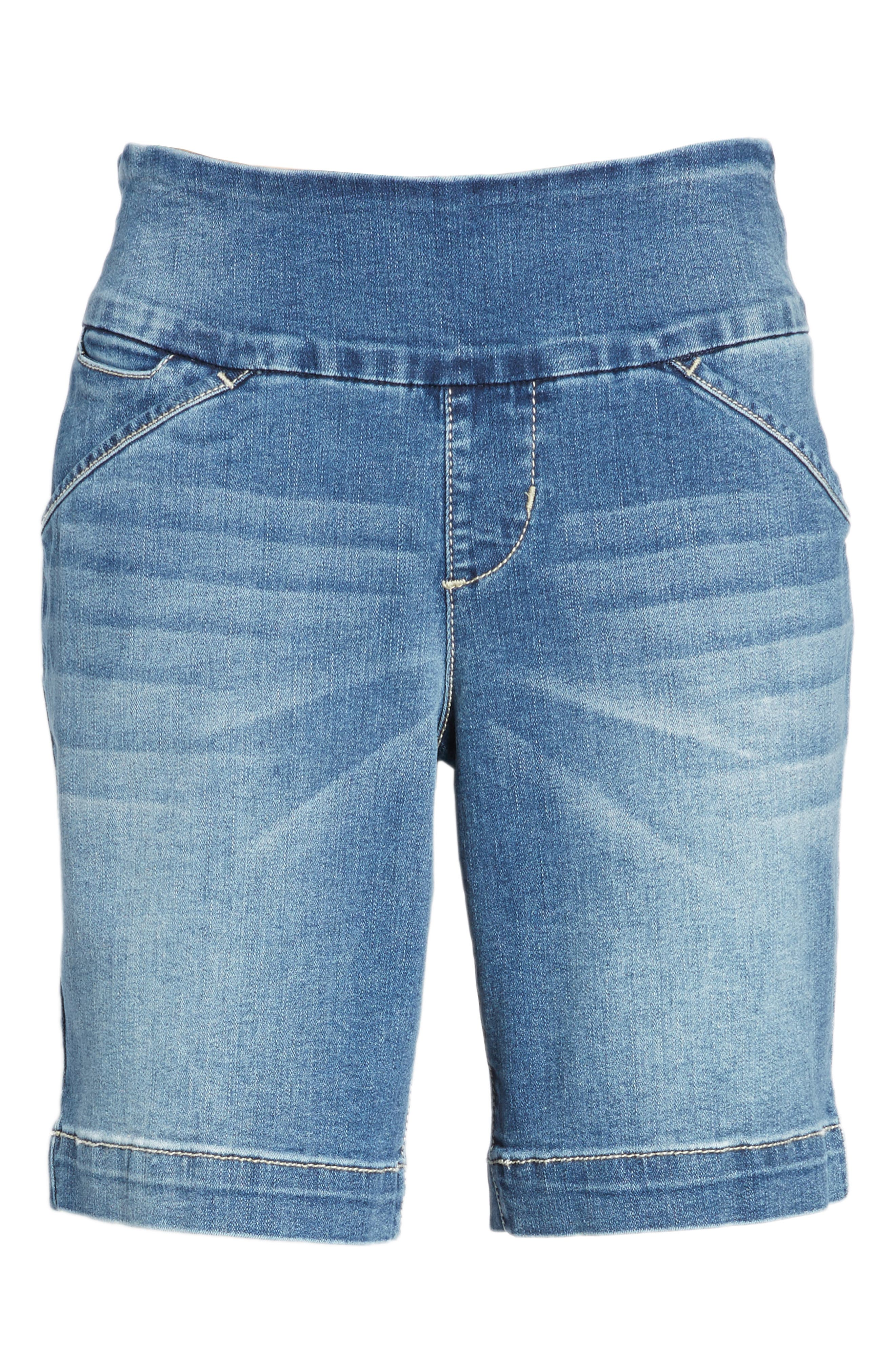 Ainsley Pull-On Stretch Denim Shorts,                             Alternate thumbnail 7, color,                             420