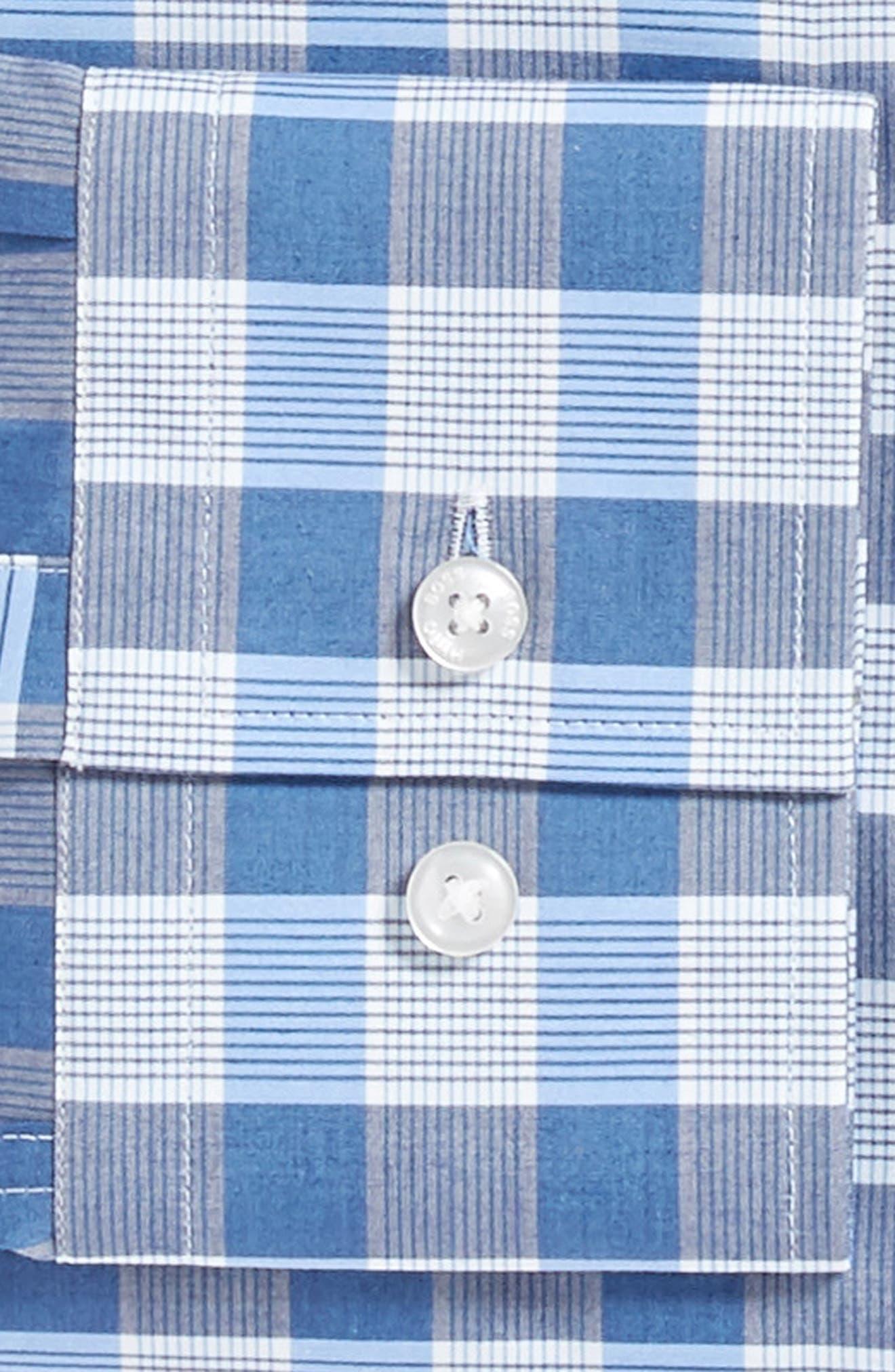 Jason Slim Fit Plaid Dress Shirt,                             Alternate thumbnail 6, color,                             BLUE