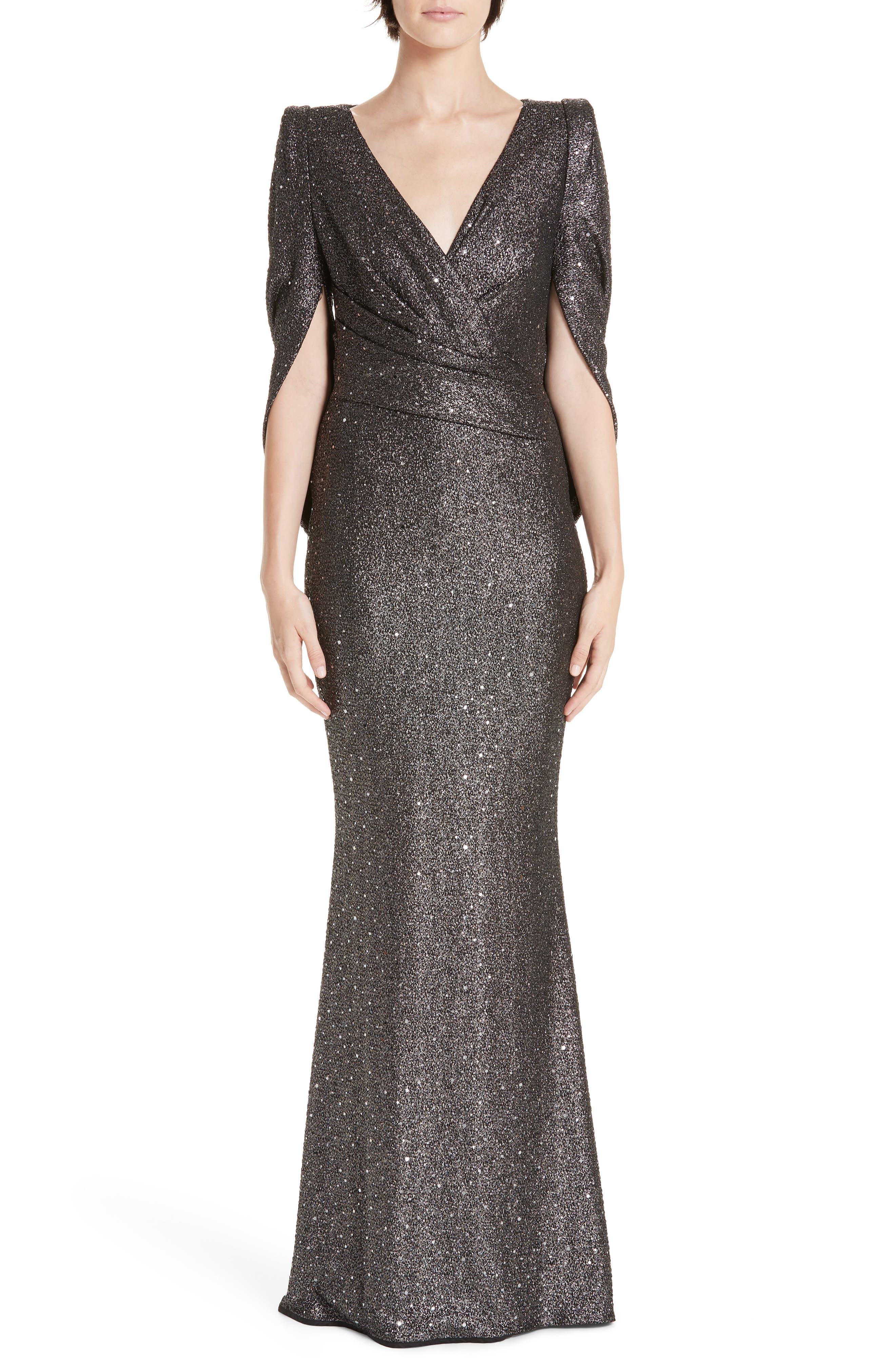 TALBOT RUNHOF V-Neck Cape-Sleeve Embellished Trumpet Evening Gown in Silver