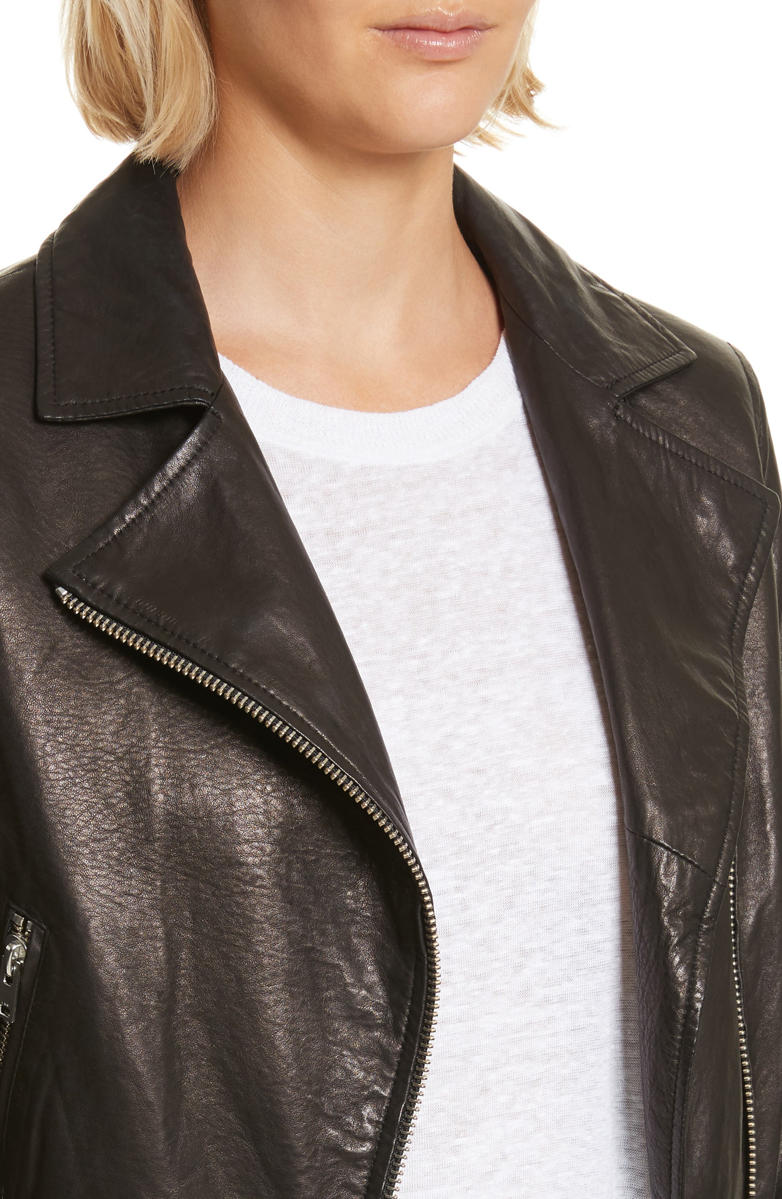 Kalore Leather Moto Jacket,                             Alternate thumbnail 4, color,                             001