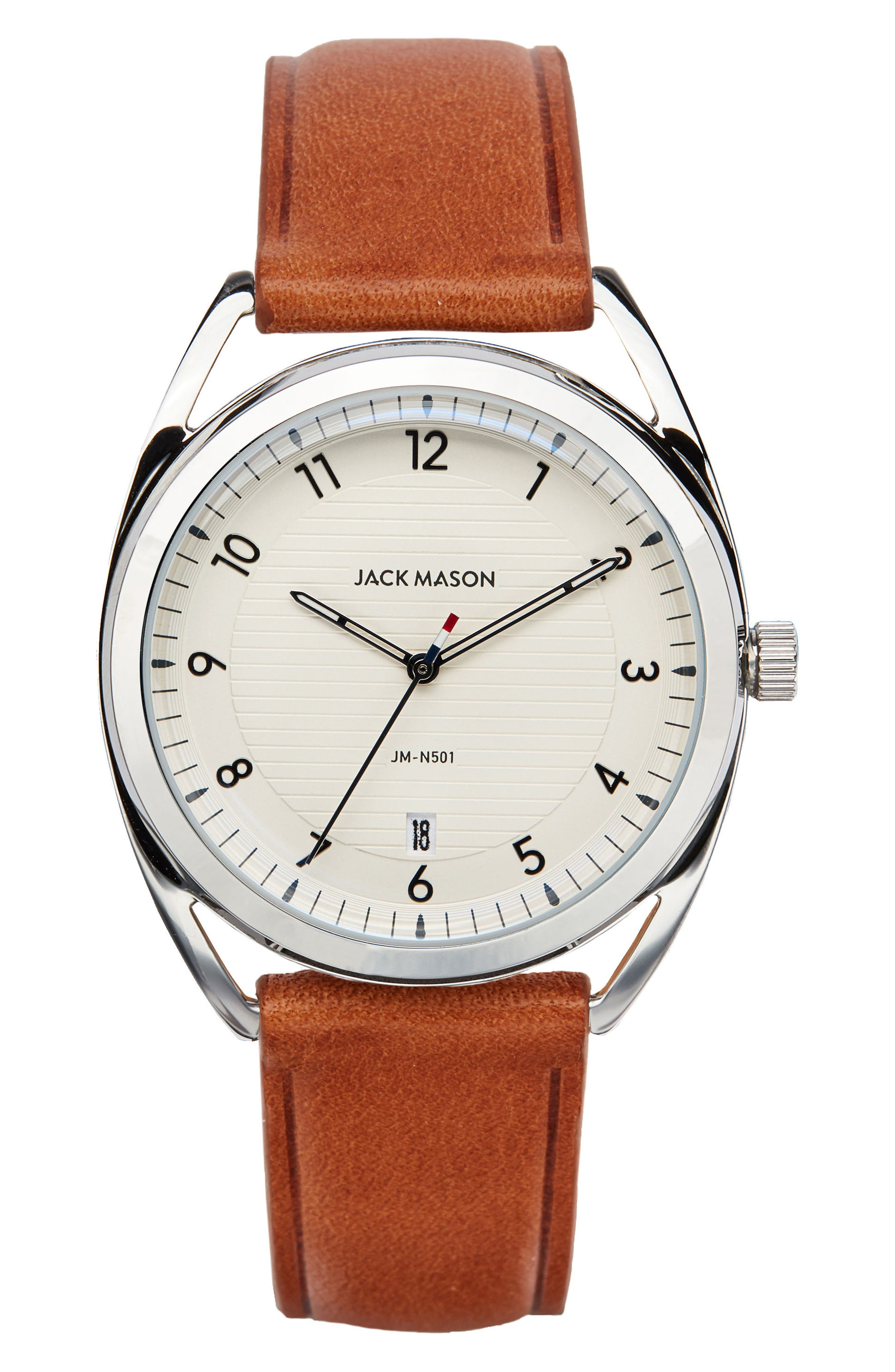 Deck Leather Strap Watch, 36mm,                         Main,                         color, TAN/ WHITE/ SILVER