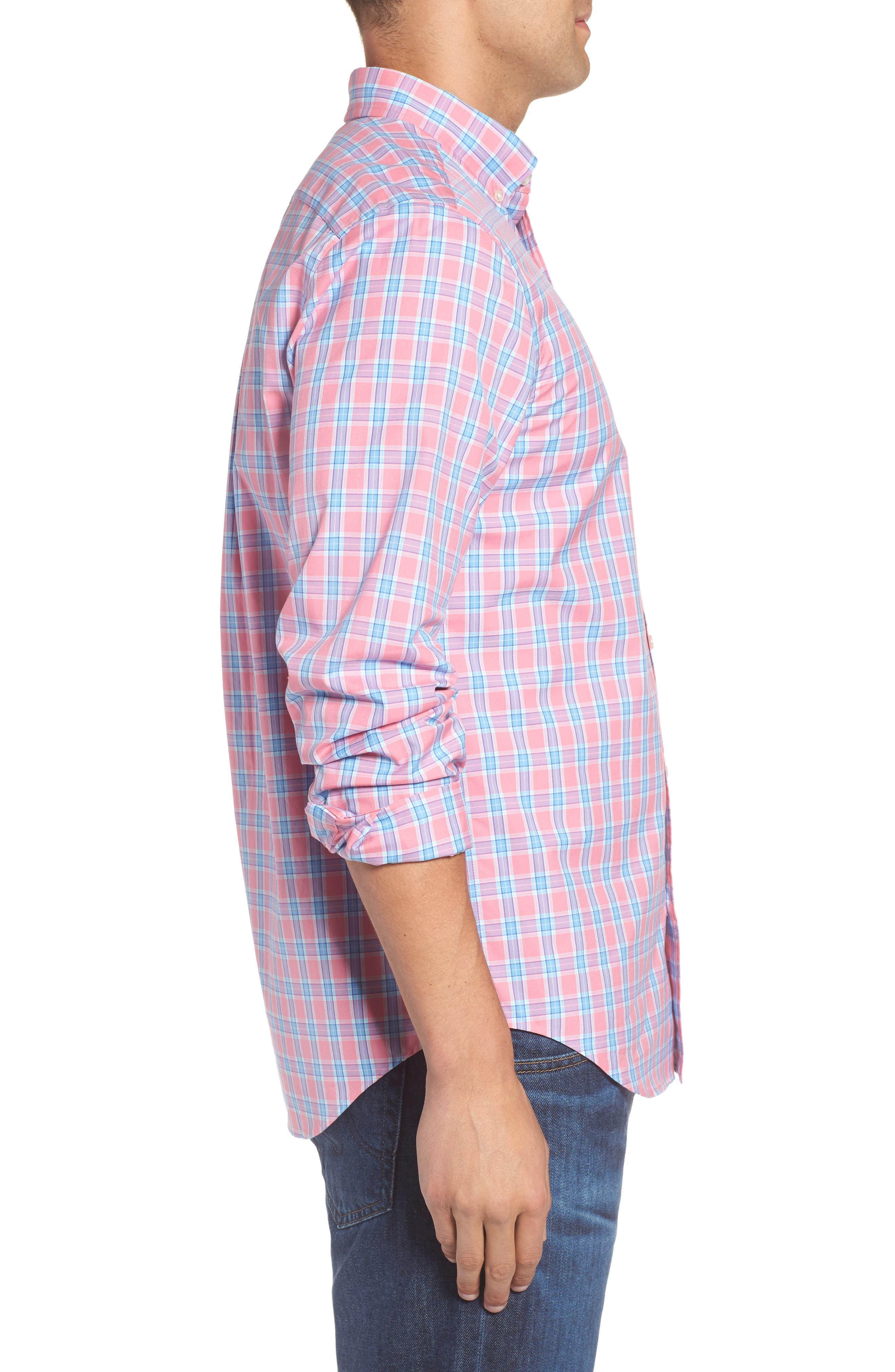 Tucker Bayard Classic Fit Plaid Sport Shirt,                             Alternate thumbnail 3, color,                             650