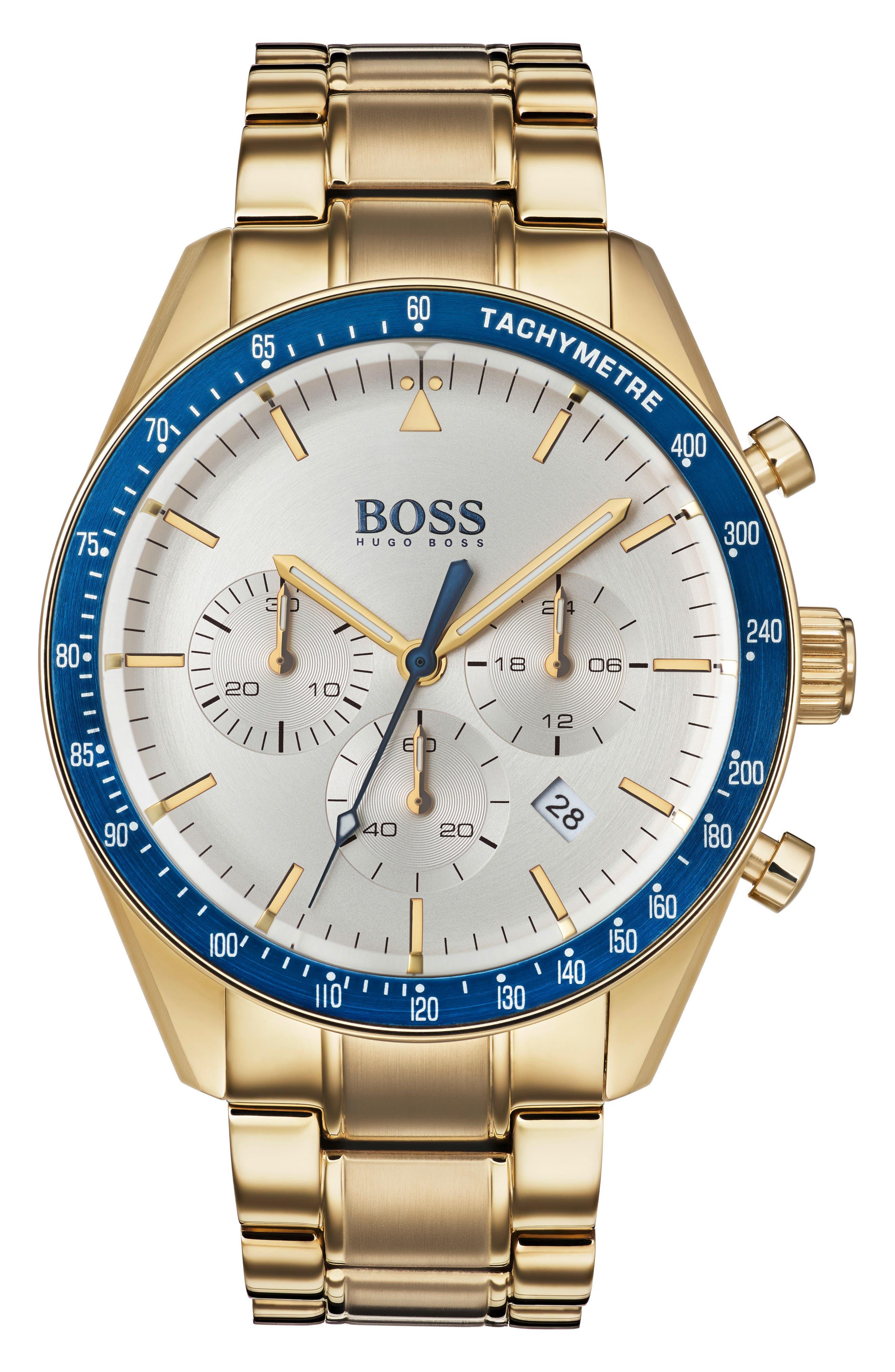 Trophy Chronograph Bracelet Watch, 44mm,                             Main thumbnail 1, color,                             SILVER