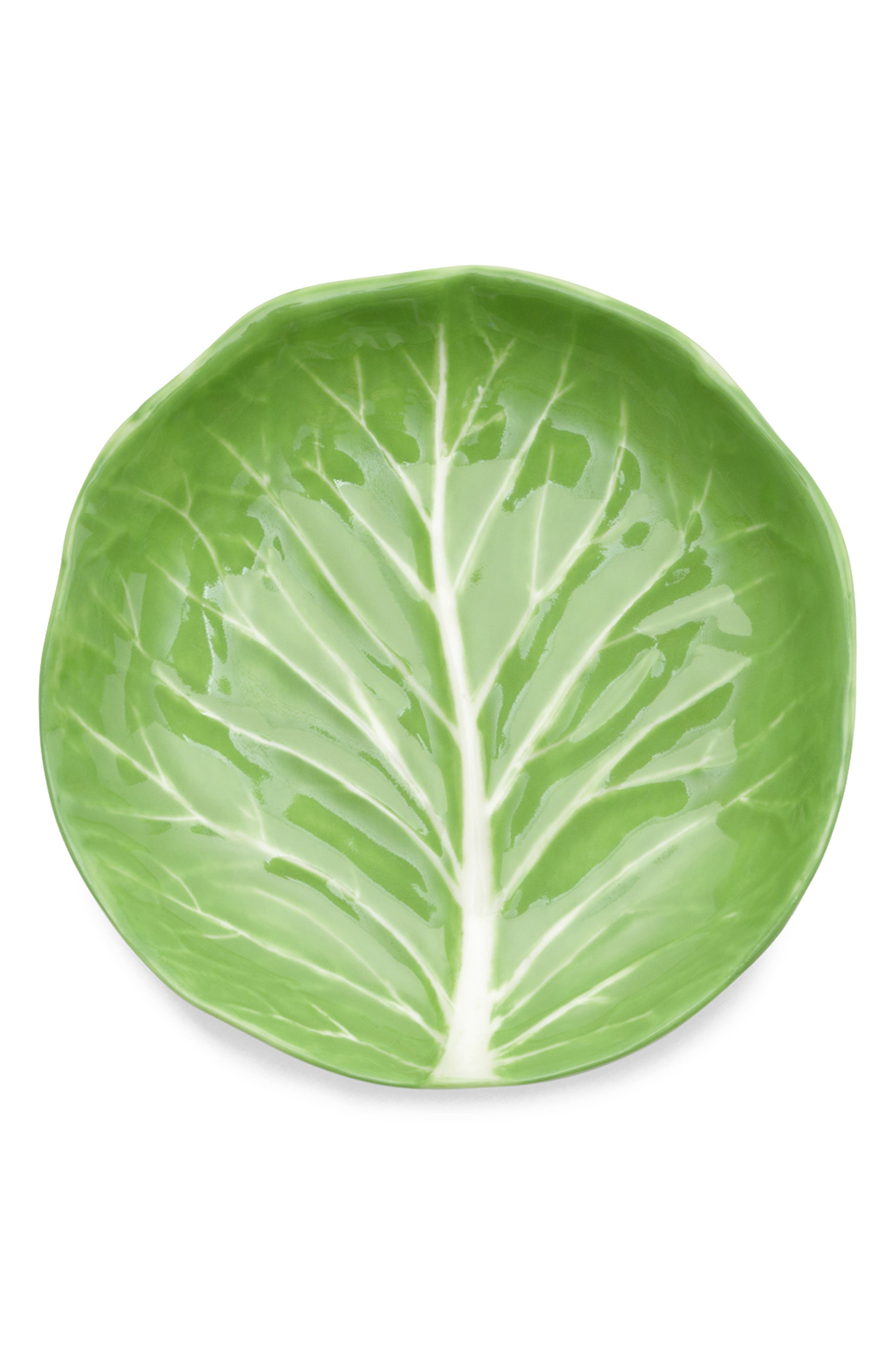 TORY BURCH Set of 4 Lettuce Ware Canapé Plates, Main, color, GREEN