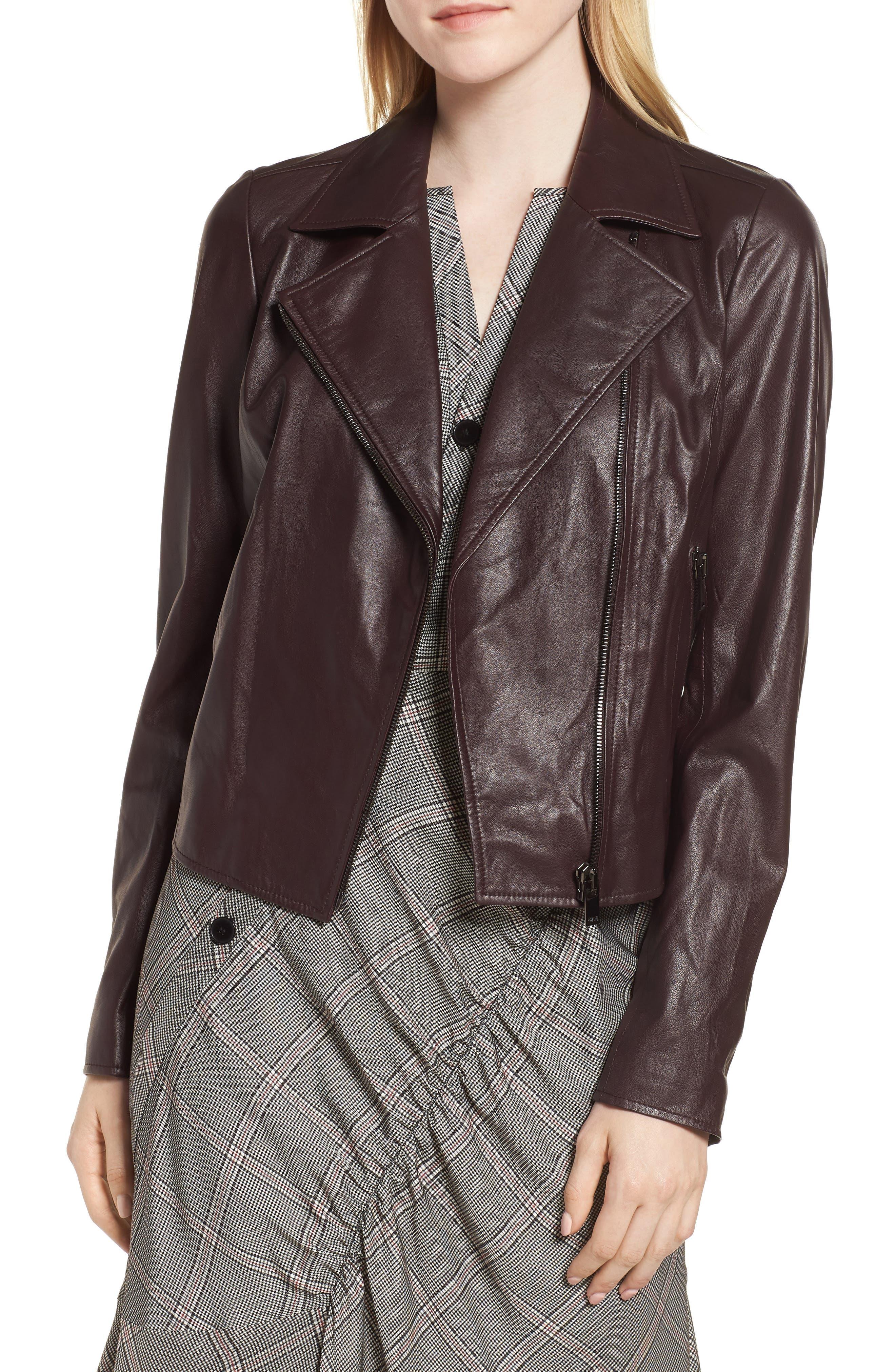 Leather Moto Jacket,                         Main,                         color, BURGUNDY STEM
