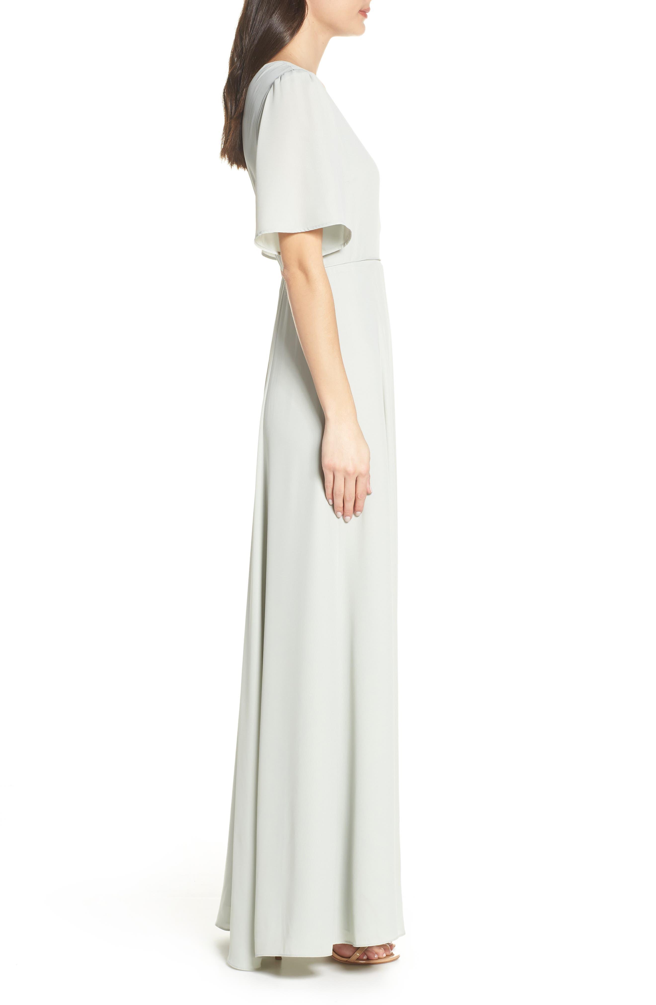 WAYF,                             The Aurelia Short Sleeve Wrap Evening Dress,                             Alternate thumbnail 3, color,                             SAGE