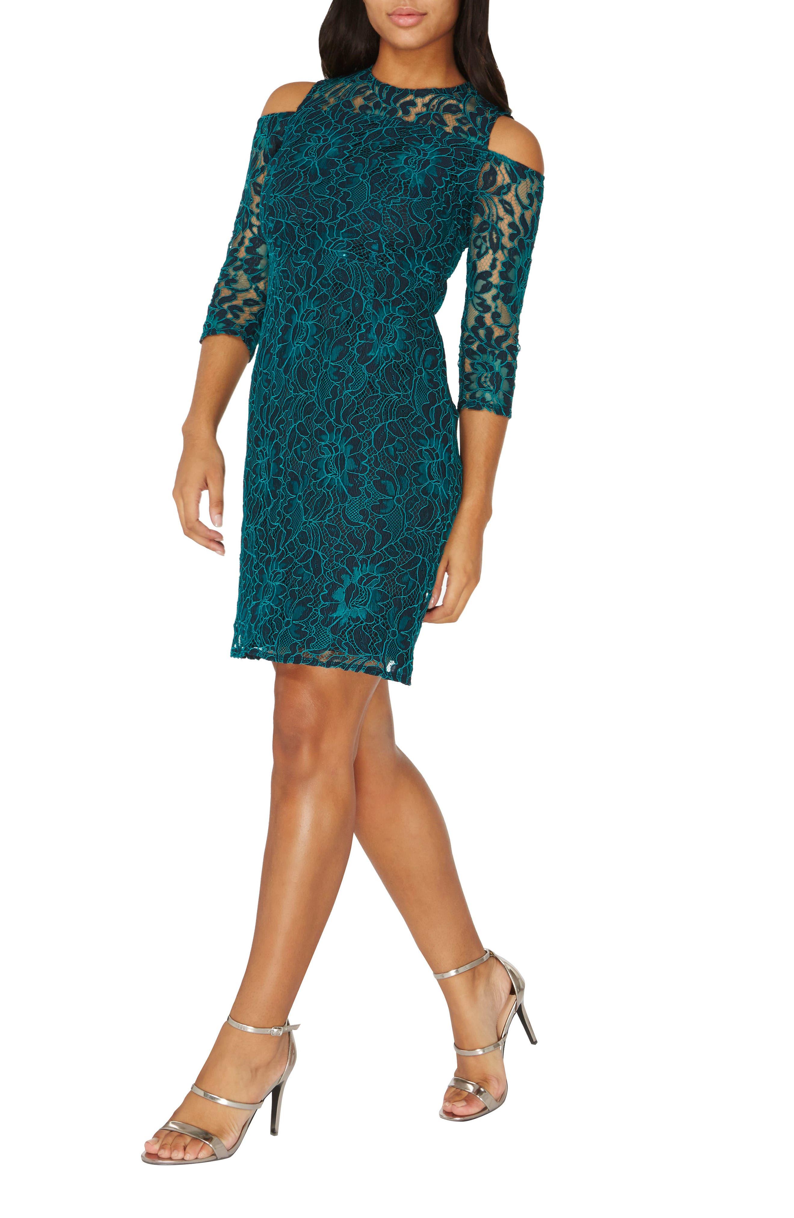 Cold Shoulder Lace Dress,                             Alternate thumbnail 5, color,                             300