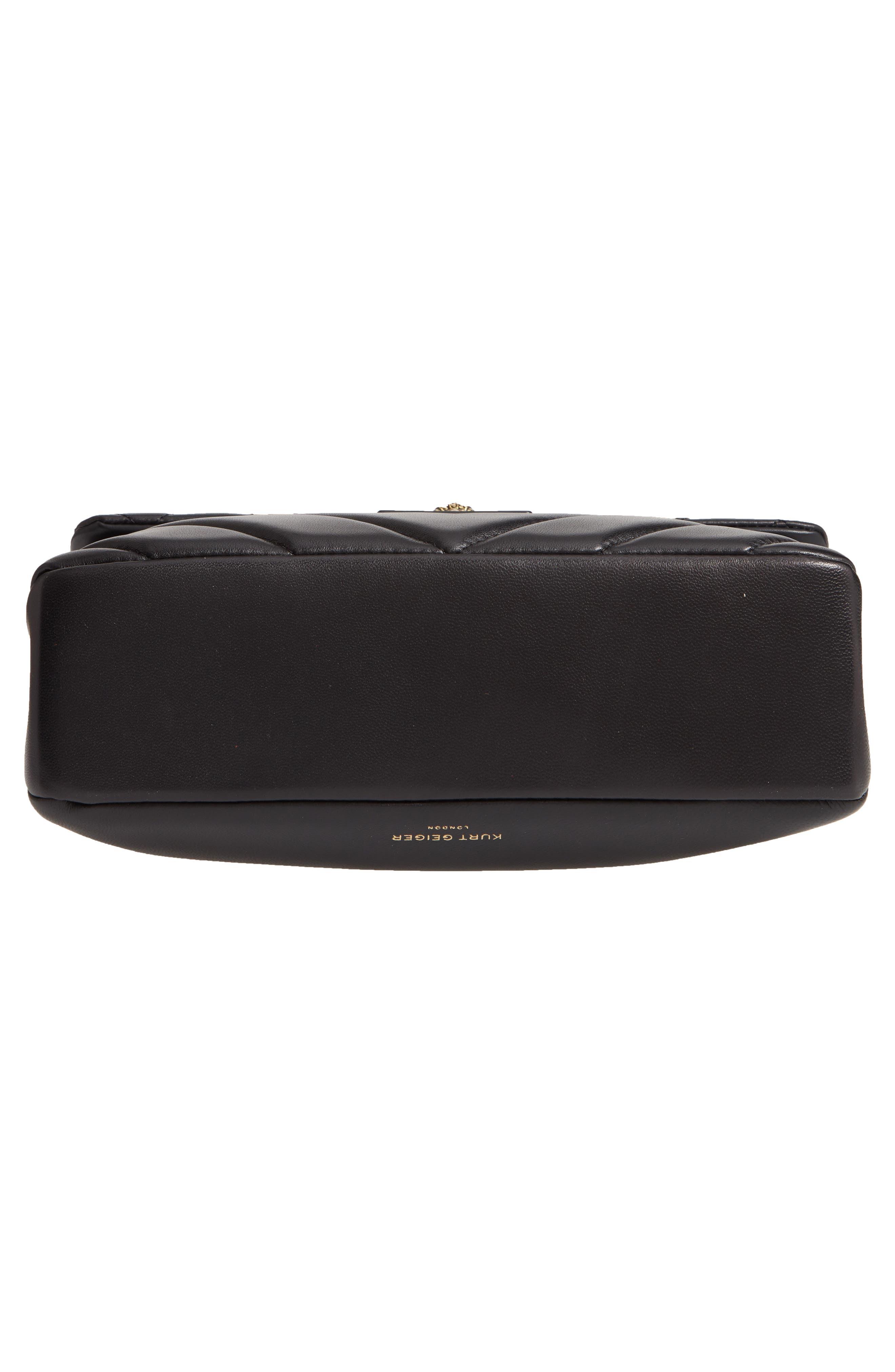 KURT GEIGER LONDON,                             Kensington Quilted Leather Shoulder Bag,                             Alternate thumbnail 6, color,                             BLACK