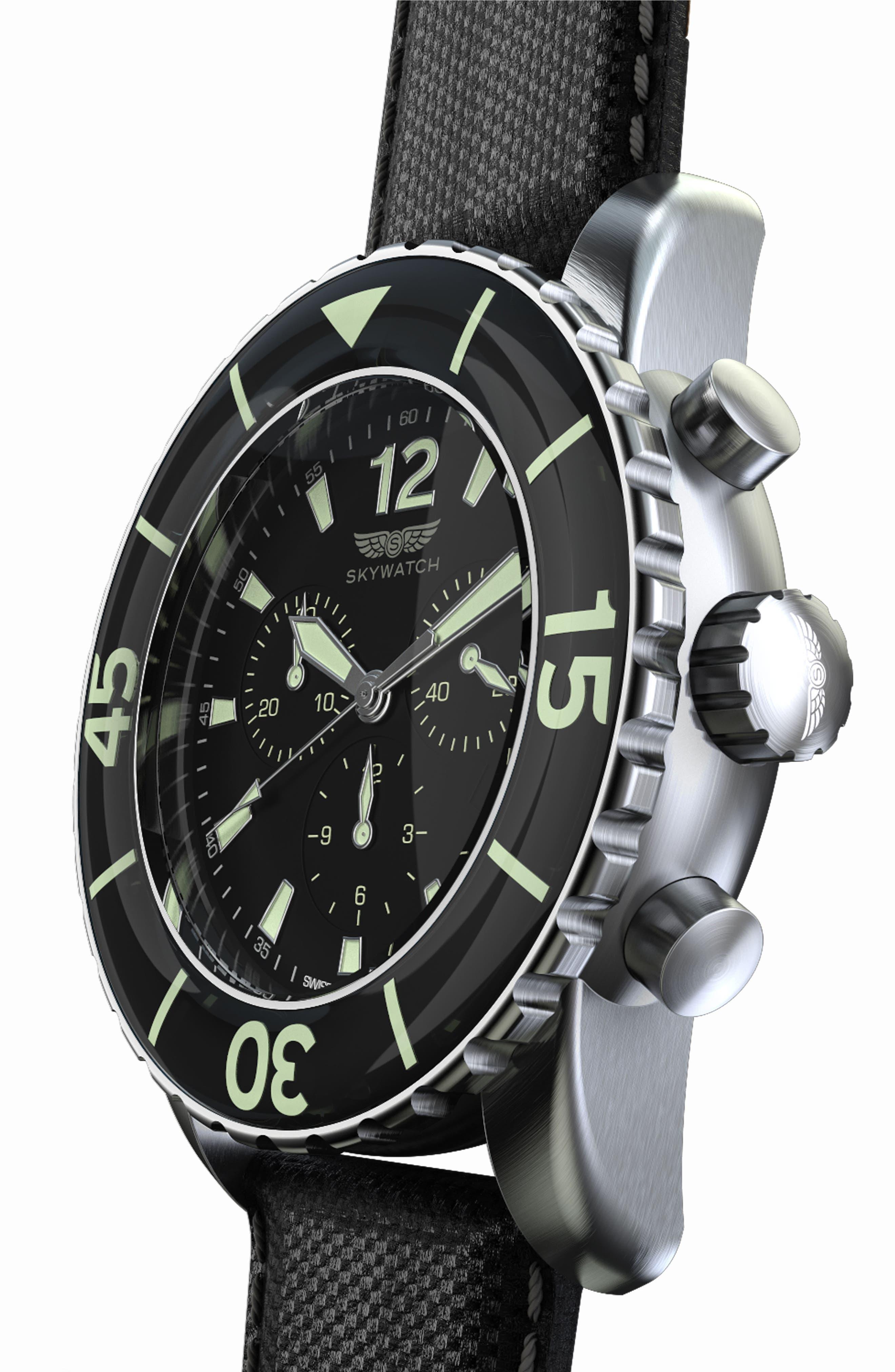 Classic Chronograph Woven Strap Watch, 46mm,                             Alternate thumbnail 4, color,                             BLACK/ BLACK