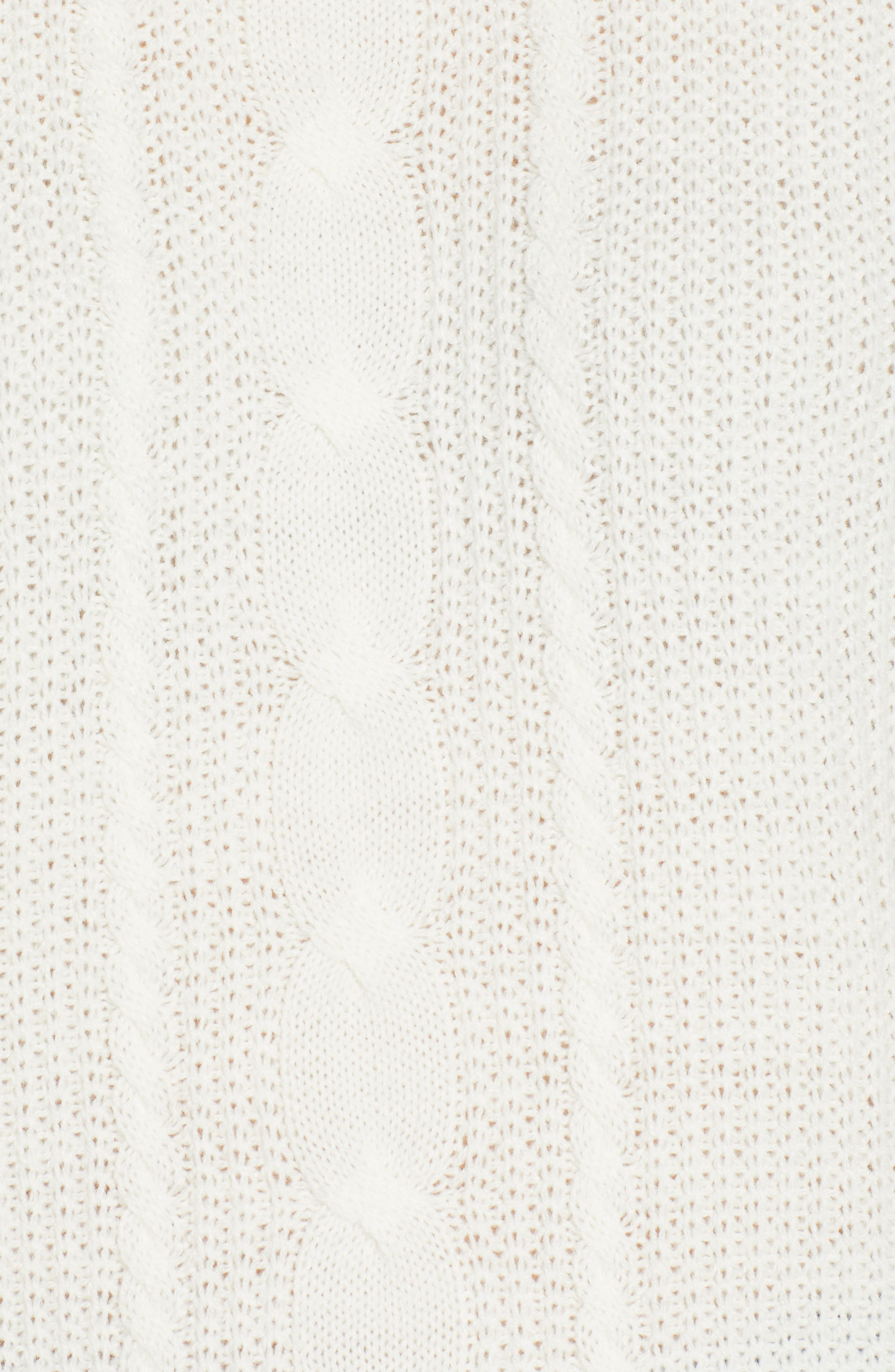 TJW Cable Knit Sweater,                             Alternate thumbnail 5, color,                             CLOUD DANCER