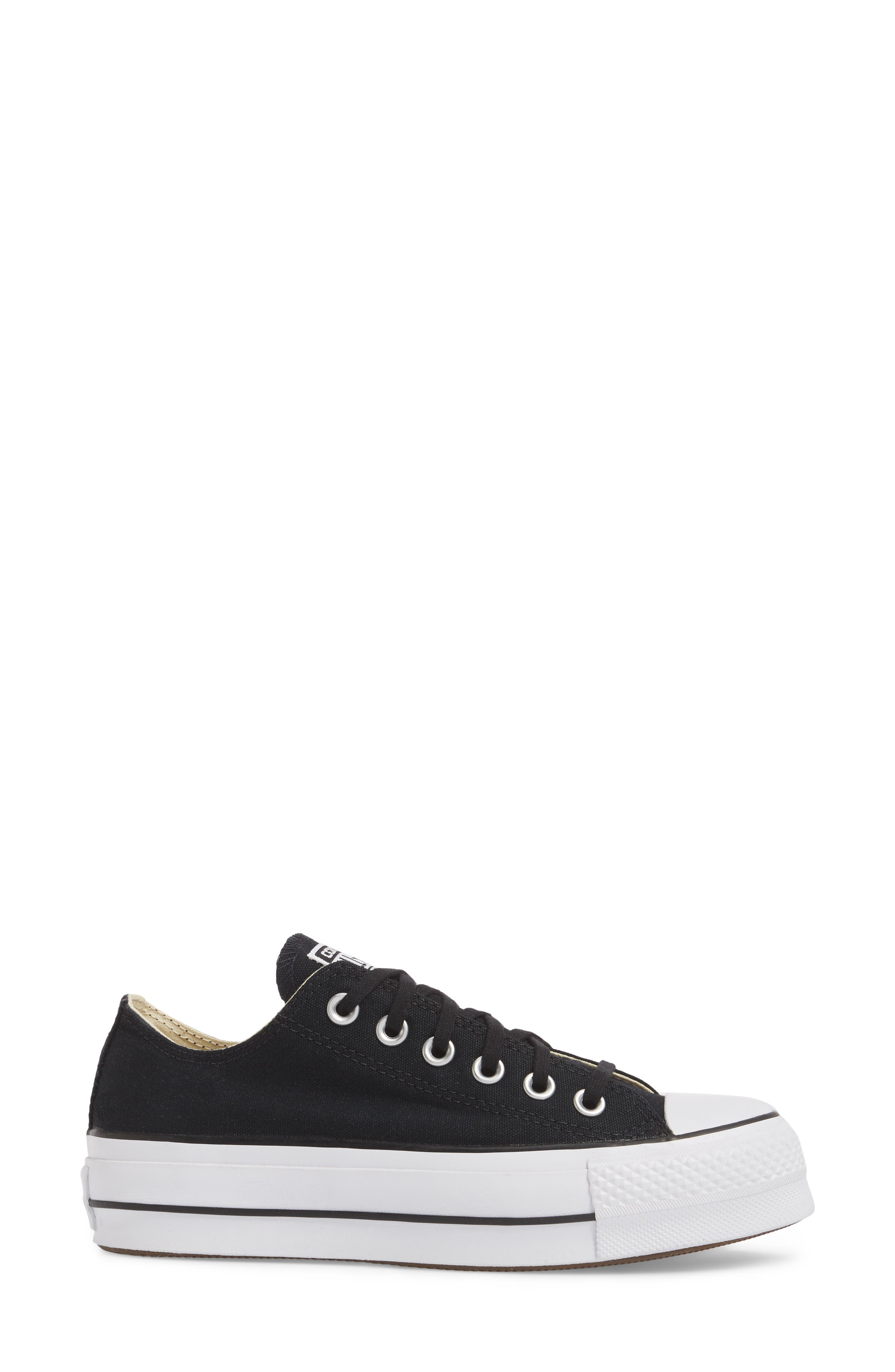 Chuck Taylor<sup>®</sup> All Star<sup>®</sup> Platform Sneaker,                             Alternate thumbnail 3, color,                             BLACK/ WHITE/ WHITE