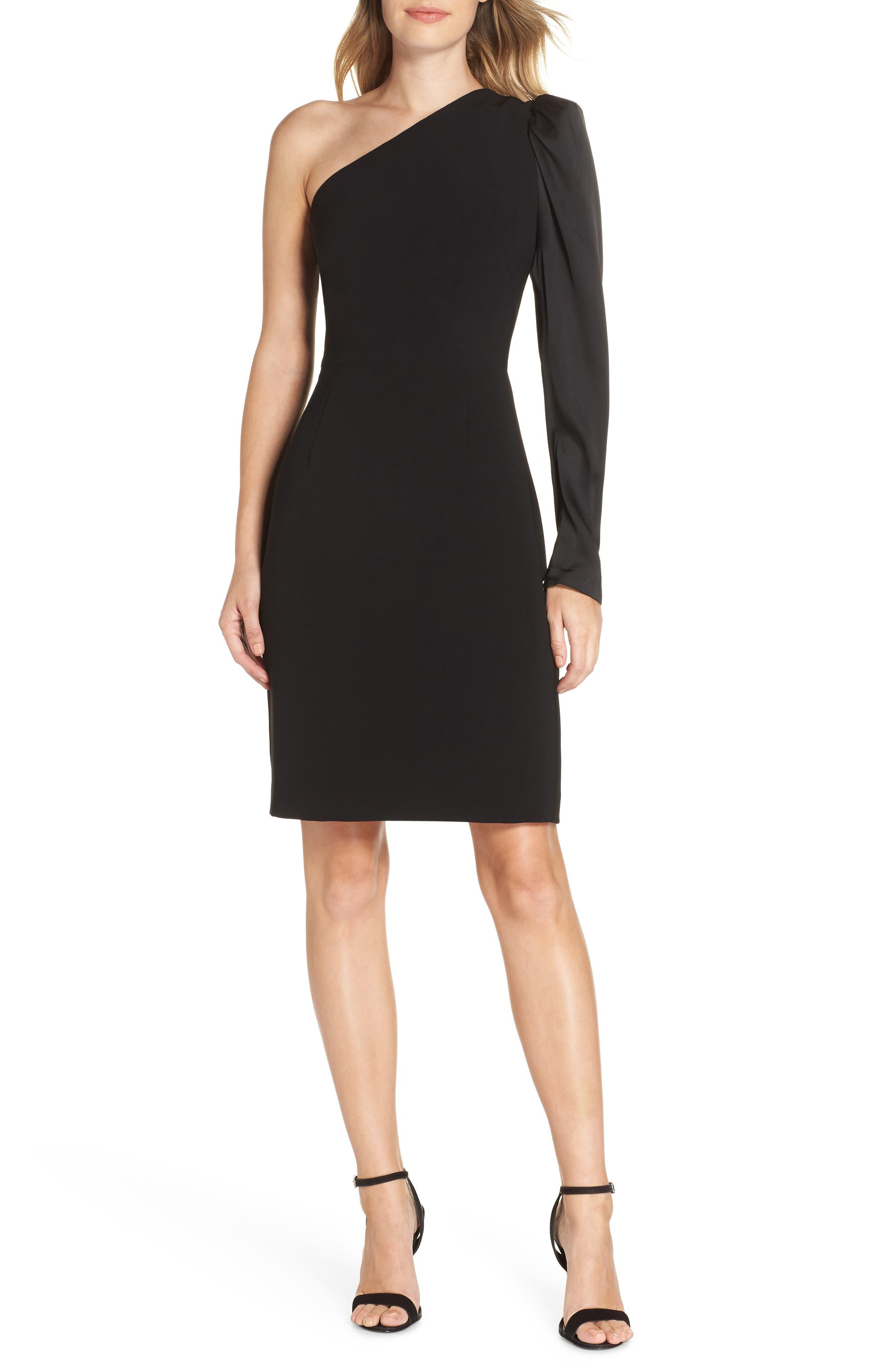 Eliza J One-Shoulder One-Sleeve Sheath Dress, Black